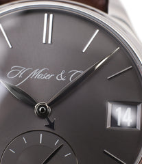 grey dial H. Moser & Cie. Perpetual Calendar 1341 platinum preowned watch at A Collected Man
