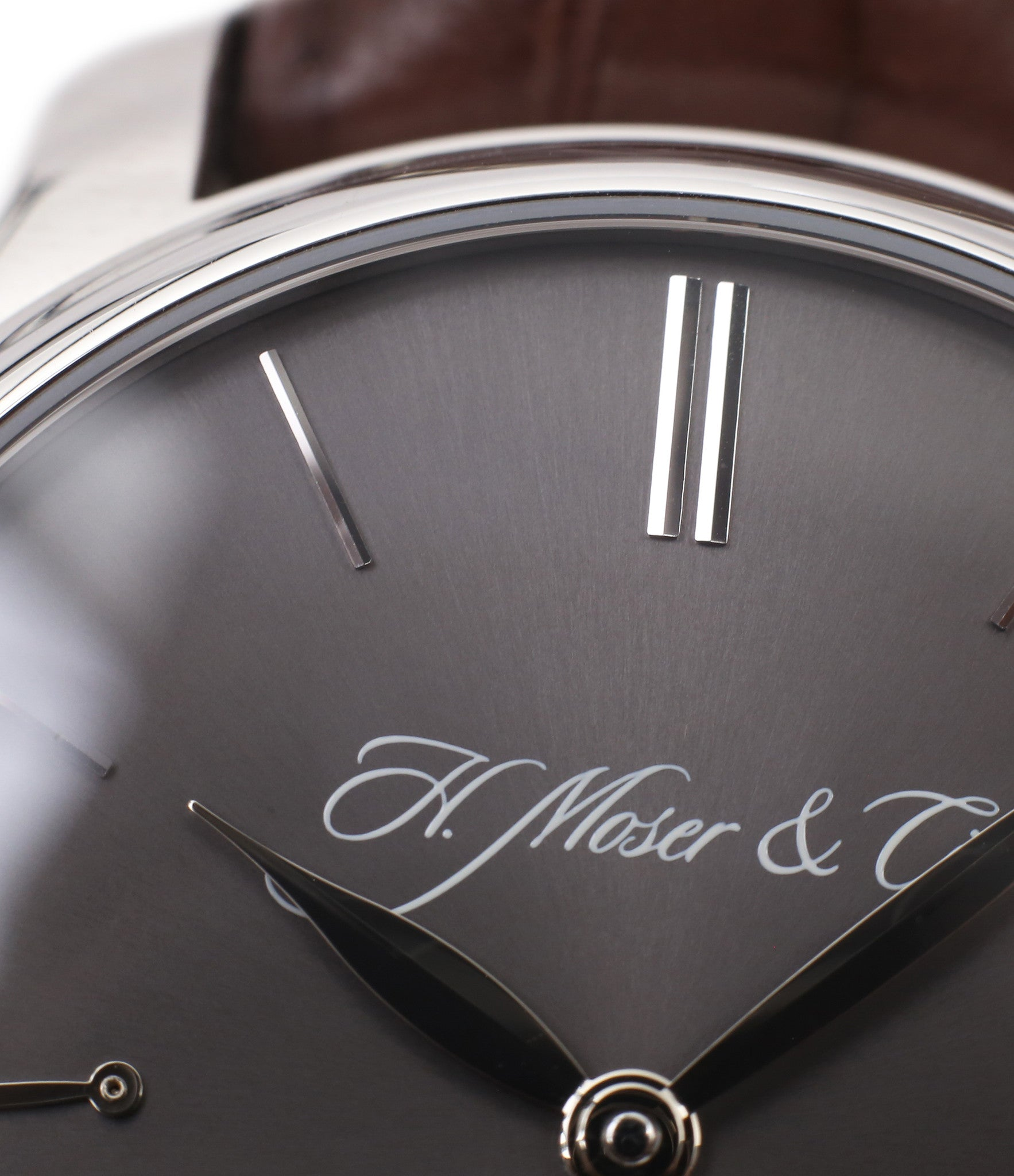 independent watchmaker H. Moser & Cie. Perpetual Calendar 1341 platinum preowned watch at A Collected Man