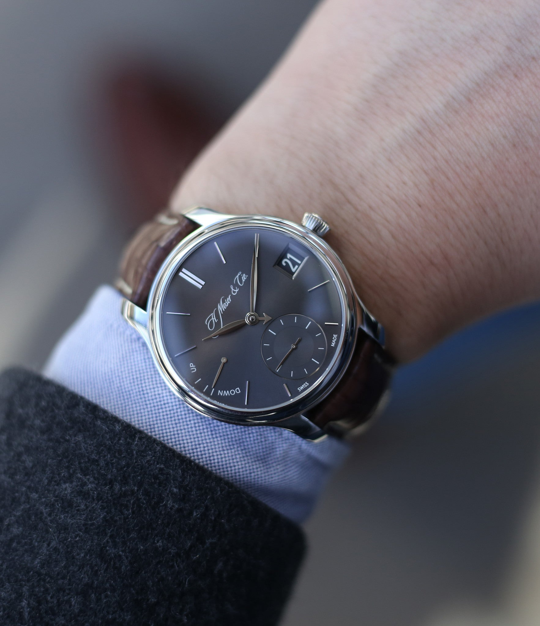 buy rare wristwatch H. Moser & Cie. Perpetual Calendar 1341 platinum preowned watch at A Collected Man