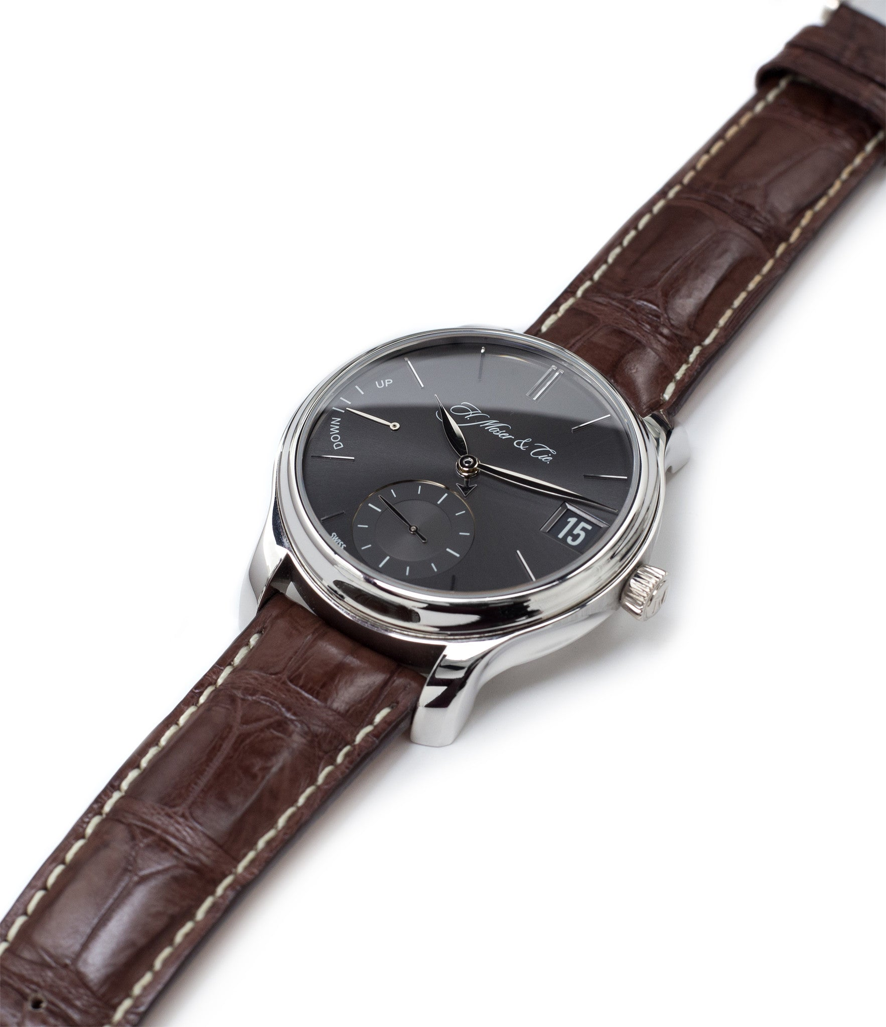 buy H. Moser & Cie. Perpetual Calendar 1341 platinum grey dial preowned watch at A Collected Man