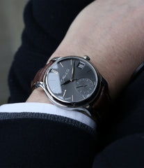 on the wrist H. Moser & Cie. Perpetual Calendar 1341 platinum preowned watch at A Collected Man
