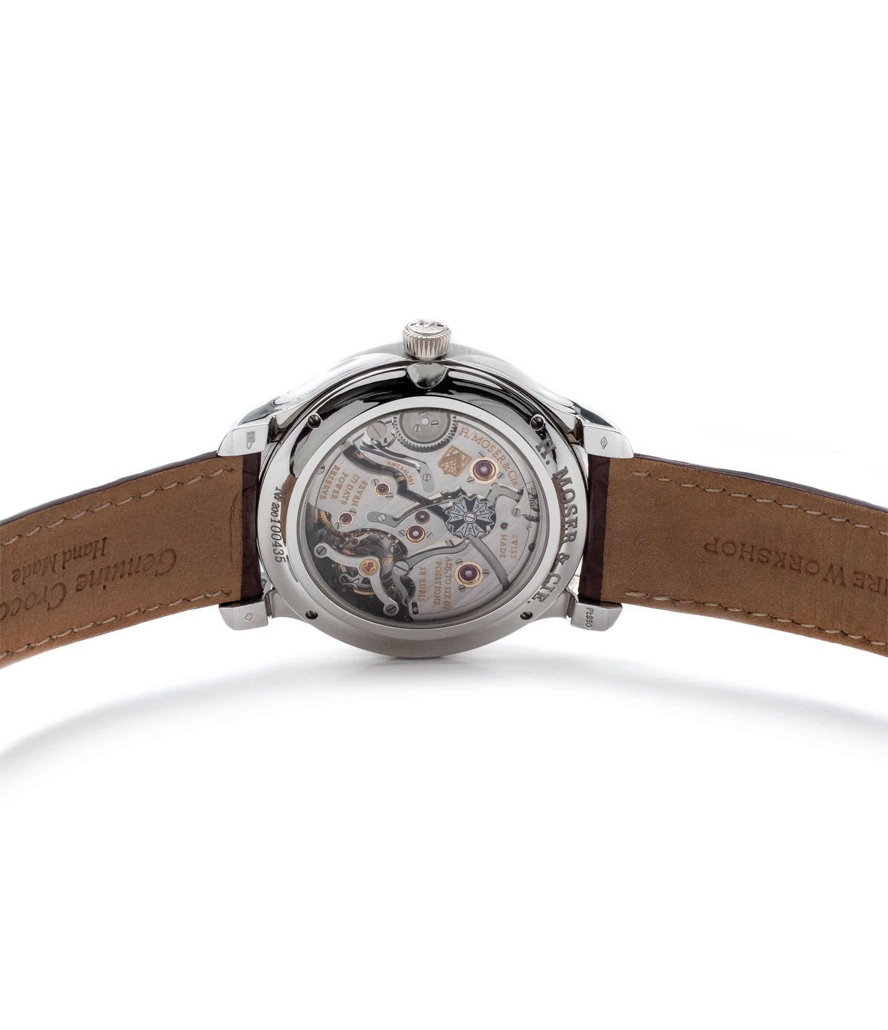 hand-finished movement H. Moser & Cie. Perpetual Calendar 1341 platinum preowned watch at A Collected Man