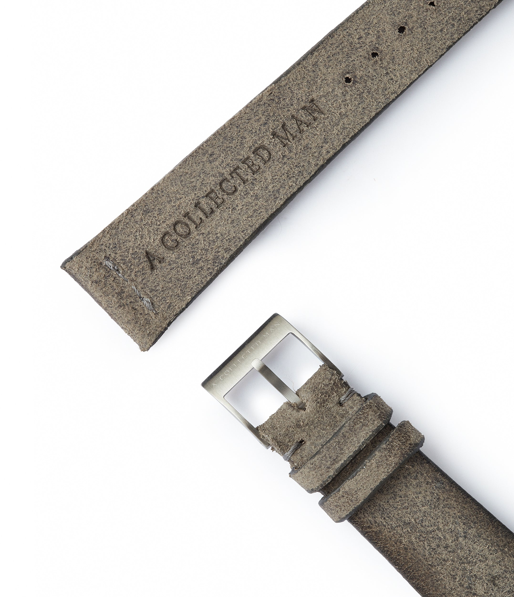 shop grey rugged vintage suede watch strap 20mm for sale online at A Collected Man London