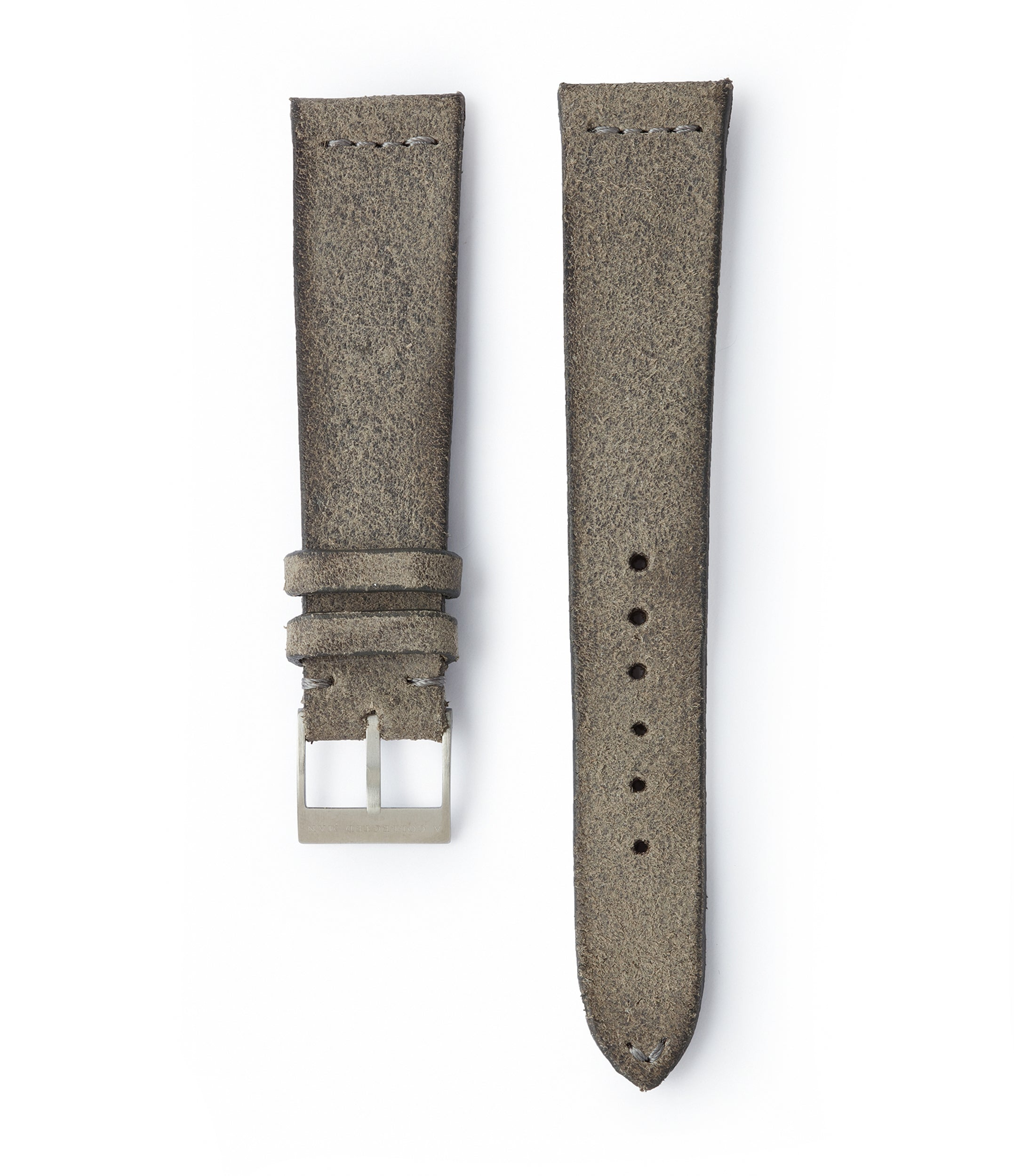 buy grey rugged vintage suede watch strap 18mm for sale online at A Collected Man London