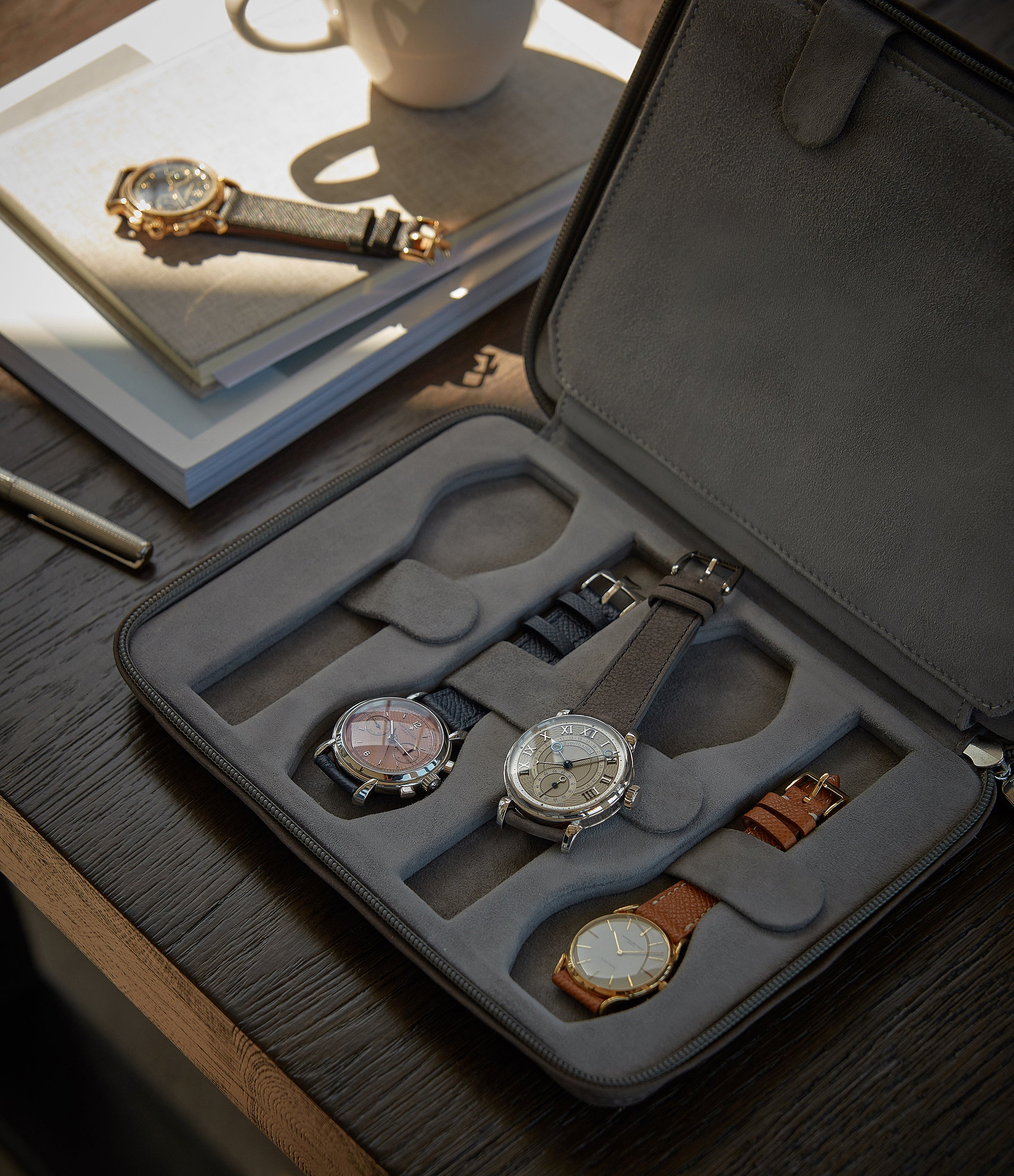 grey nubuck watch travel zip pouch accessories eight watches order online A Collected Man London