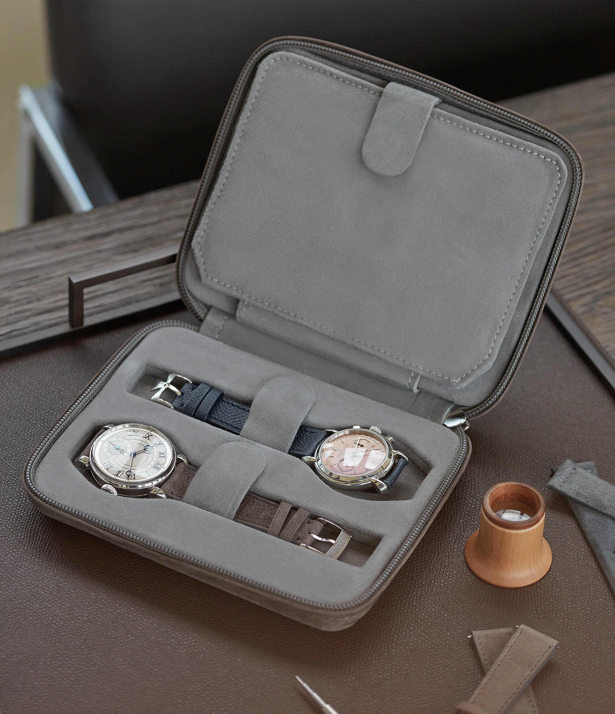 grey nubuck watch travel zip pouch accessories four watches order online A Collected Man London