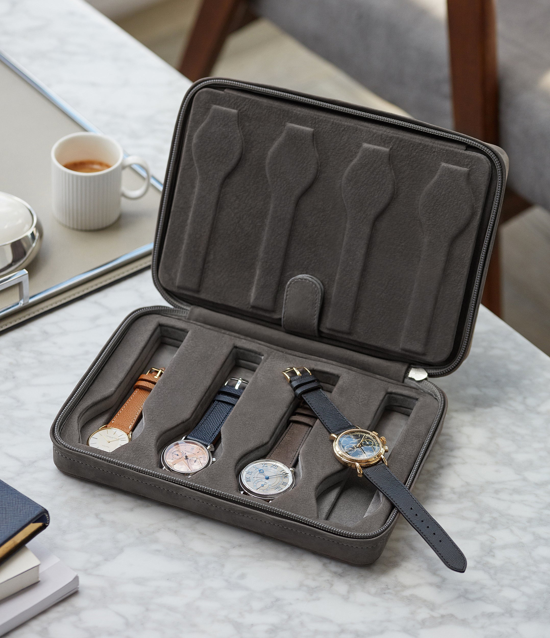 grey nubuck watch case holder accessories eight watches order online A Collected Man London
