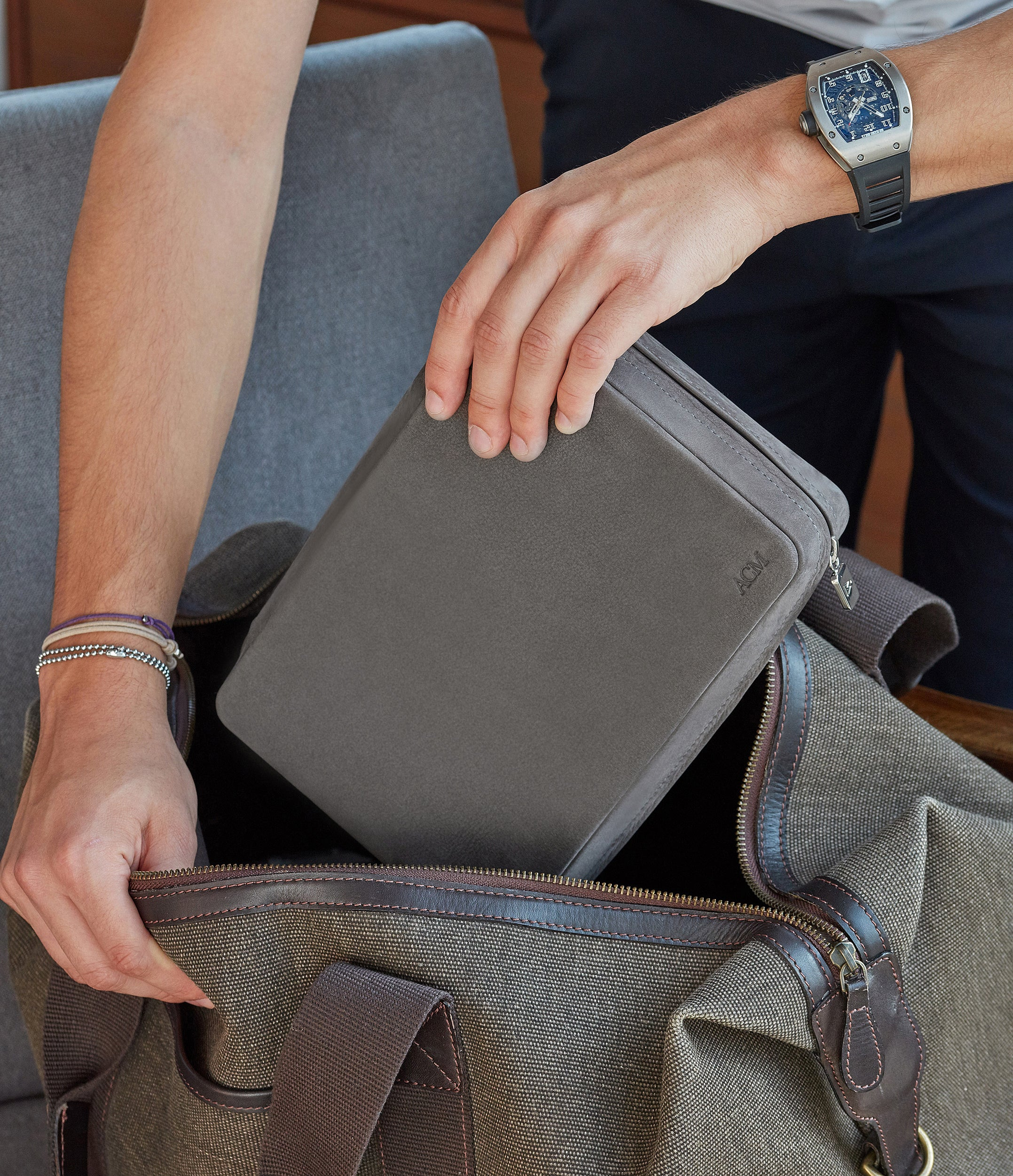 shop grey nubuck watch case holder accessories eight watches order online A Collected Man London hand-made in Europe for travel