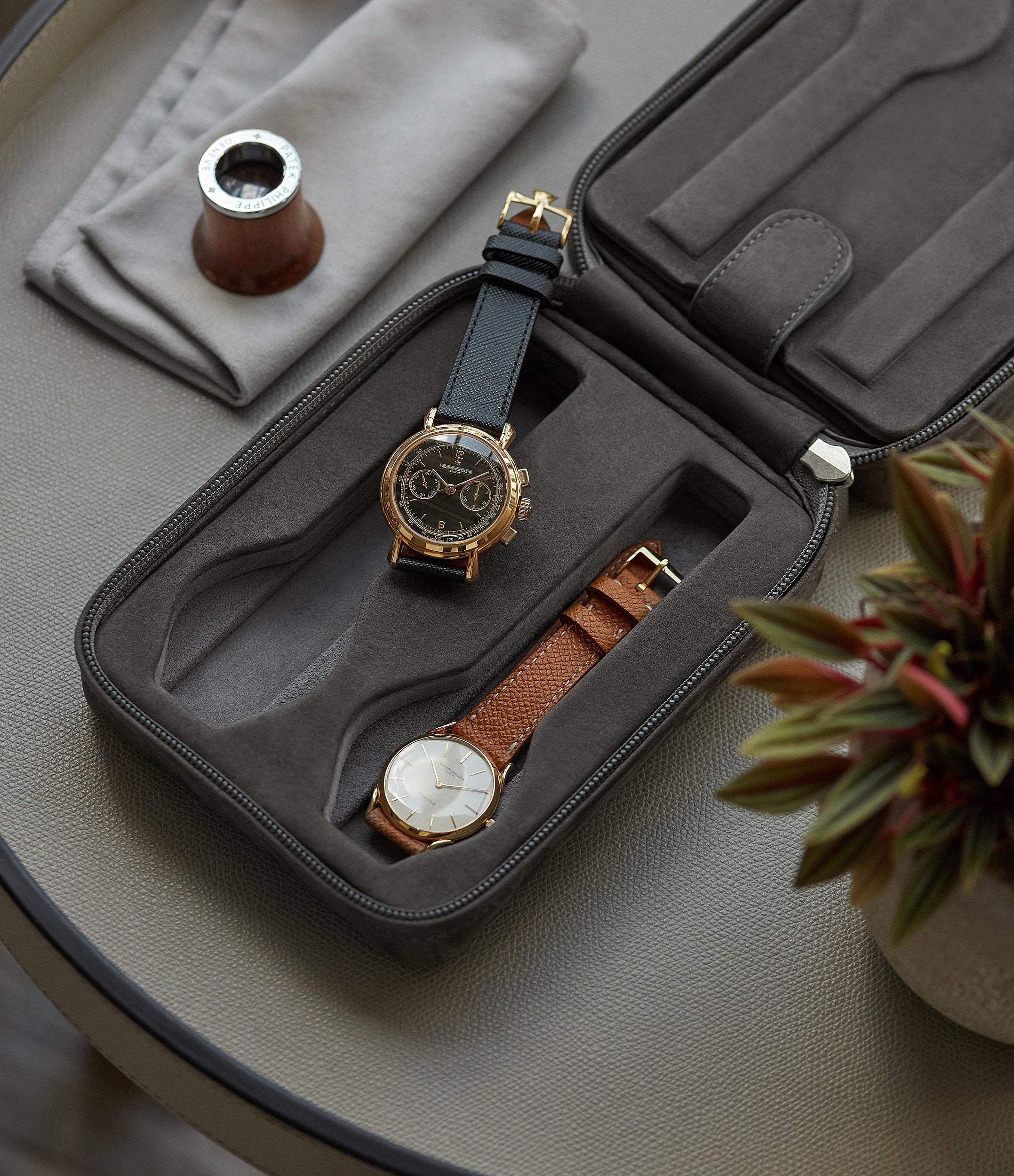 grey nubuck watch case holder accessories four watches order online A Collected Man London