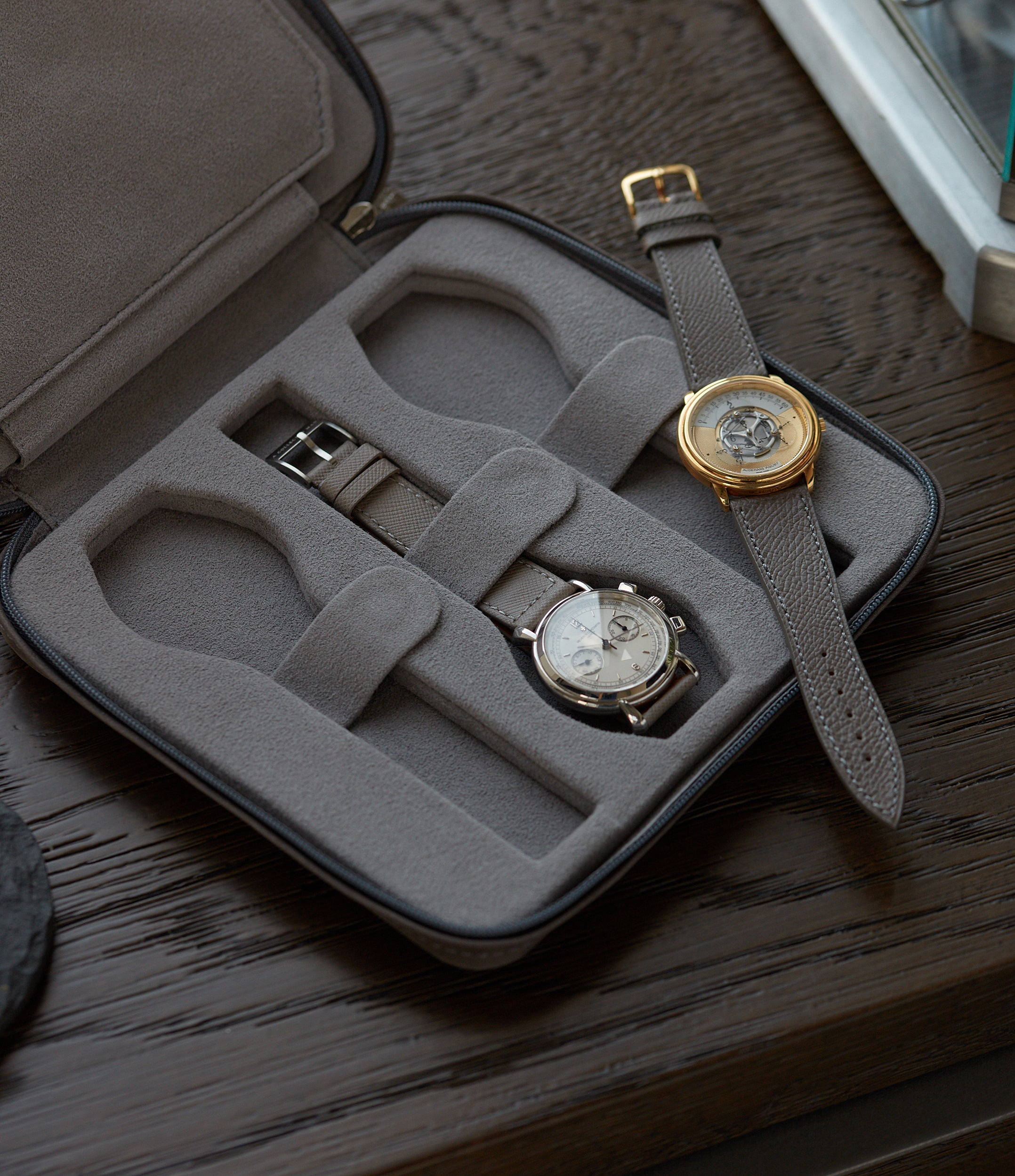 dark grey Alcantara-lined luxury six-watch nubuck watch holder folio at A Collected Man London