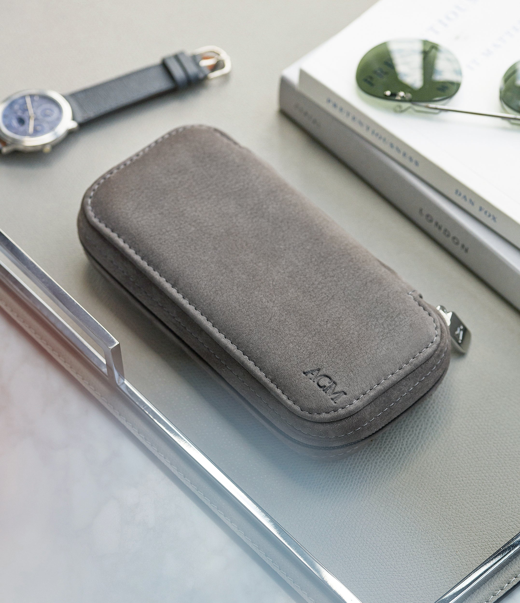 double watch pouch grey nubuck watch travel zip folio accessories for two watches order online A Collected Man London