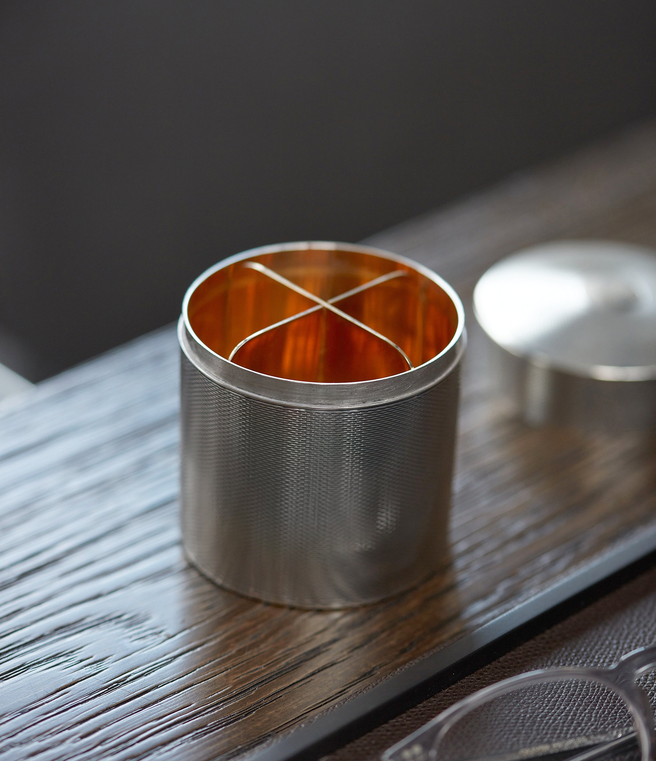 selling vintage luxury Hermès by Ravinet d'Enfert silver engine-turned cigarette pot canister box for sale online A Collected Man London UK specialist of rare collectable objects