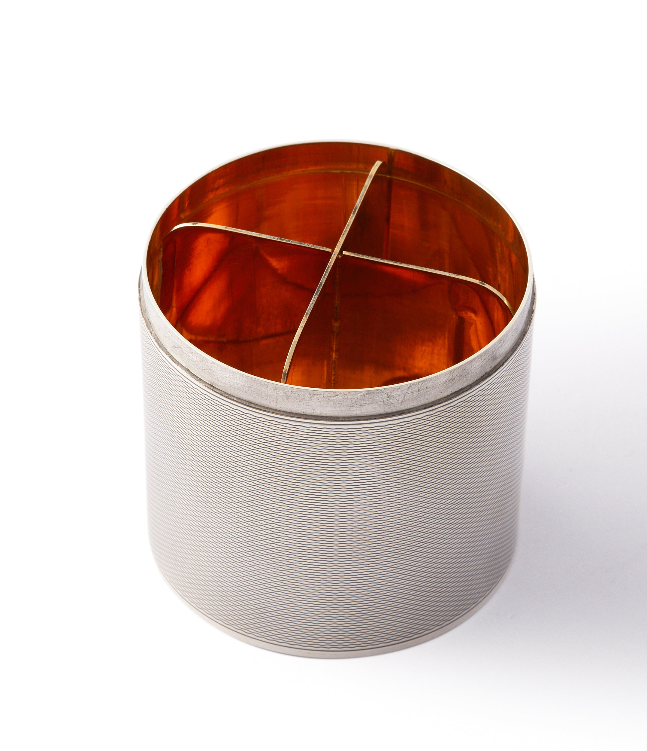 silver Hermès by Ravinet d'Enfert engine-turned cigarette pot canister box for sale online A Collected Man London UK specialist of rare collectable objects