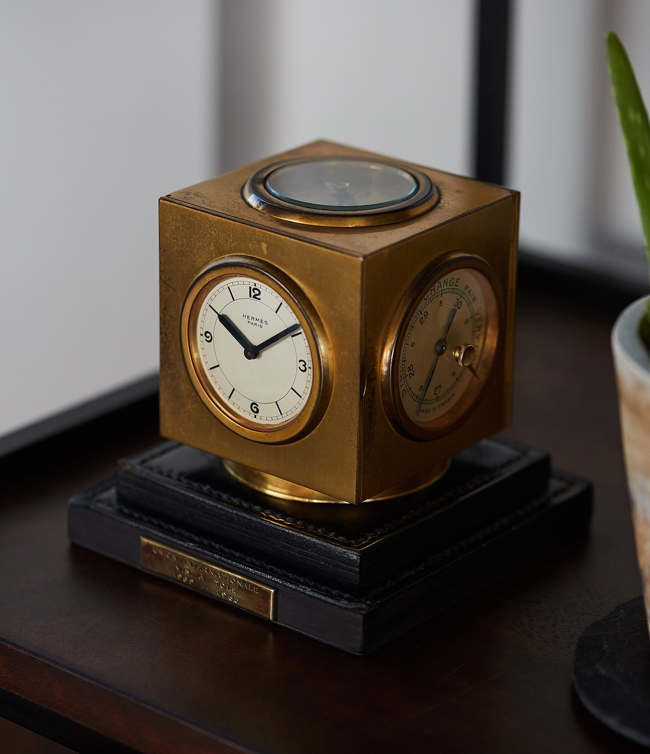 Hermes Paris Compendium 8-day Art Deco brass calendar desk clock for sale online at A Collected Man for collectors of rare objects