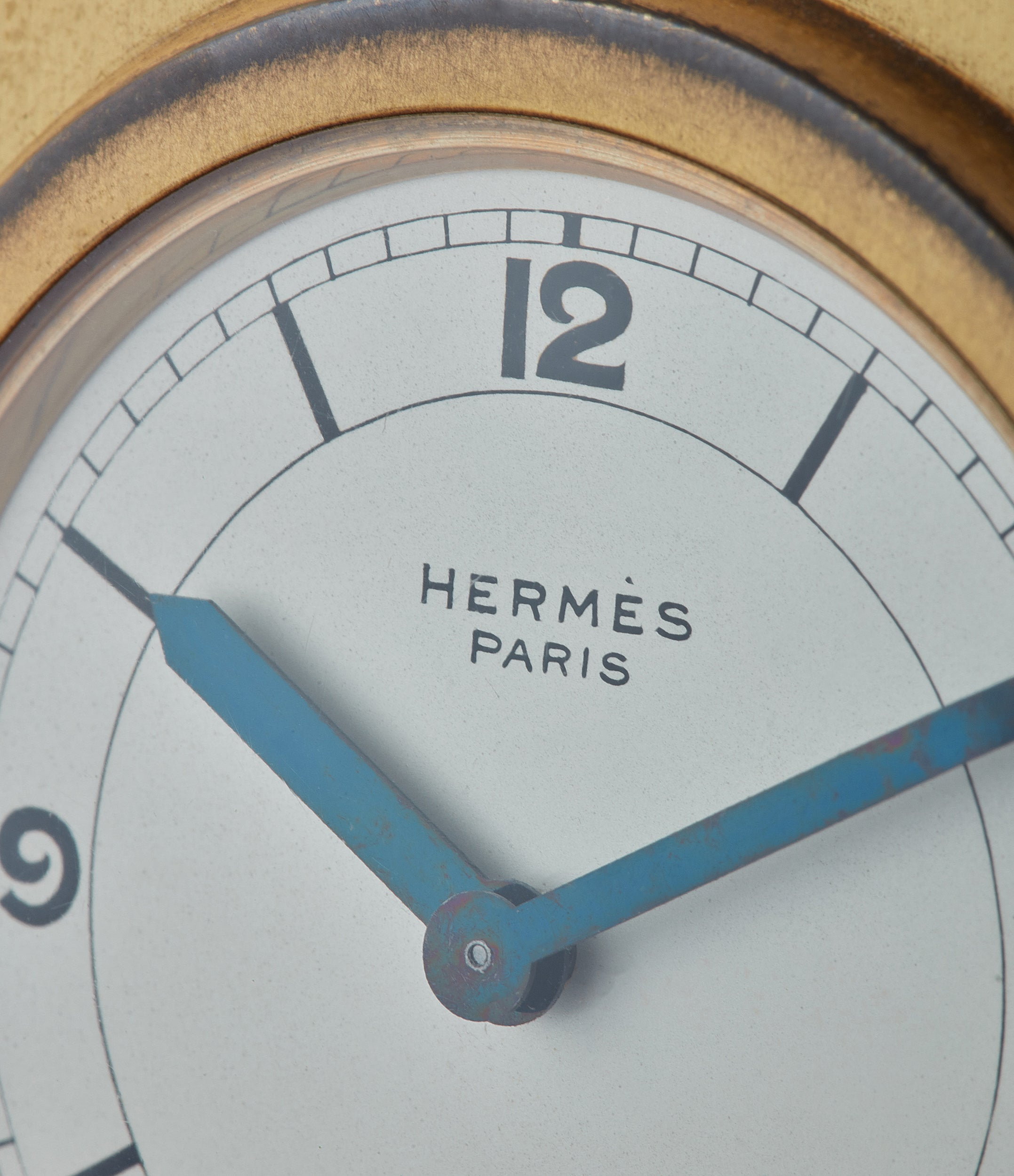 Hermes Paris-signed clock Compendium 8-day Art Deco brass calendar for sale online at A Collected Man for collectors of rare objects