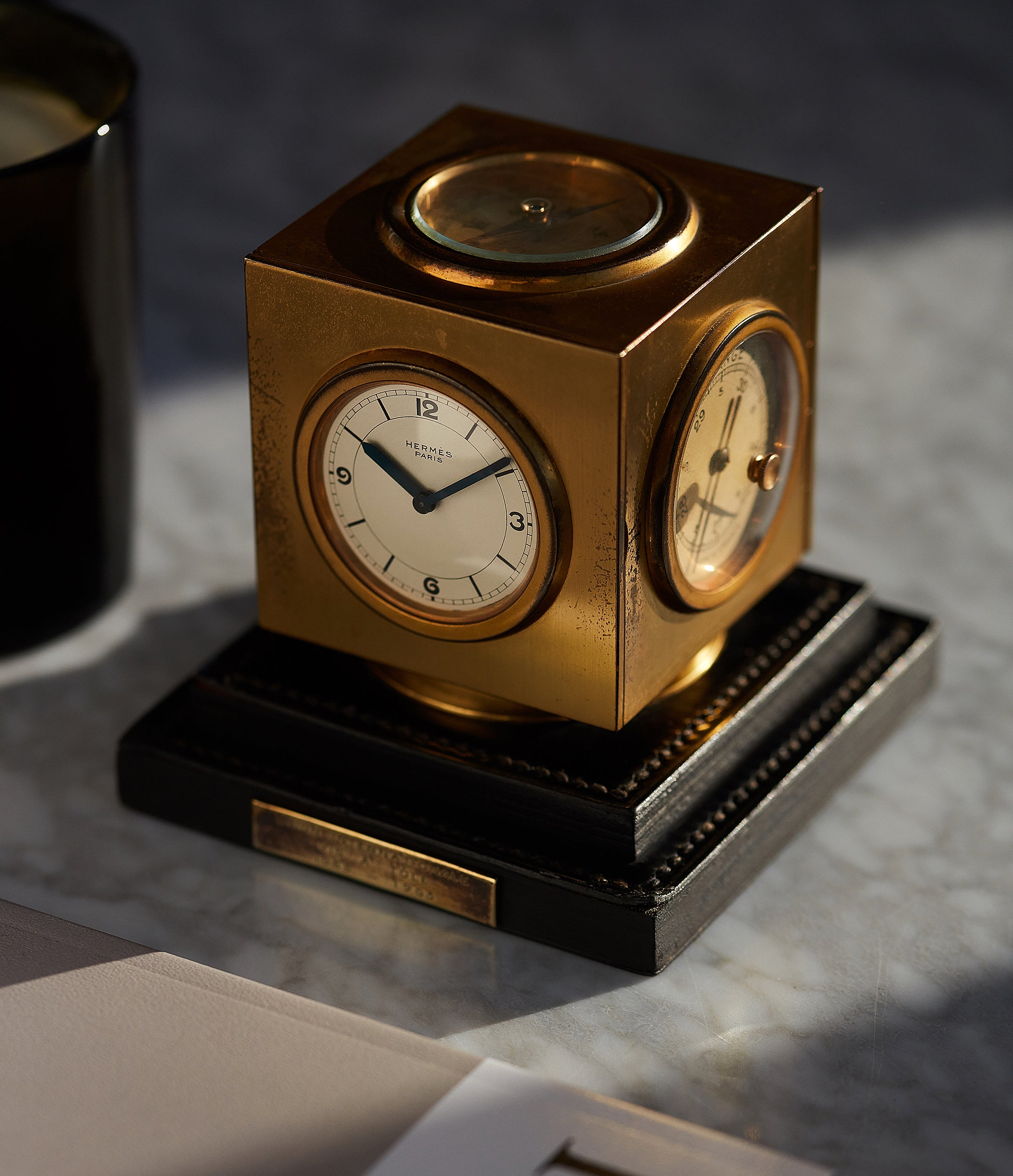 cool vintage object Hermes Paris Compendium 8-day Art Deco brass calendar desk clock for sale online at A Collected Man for collectors of rare objects