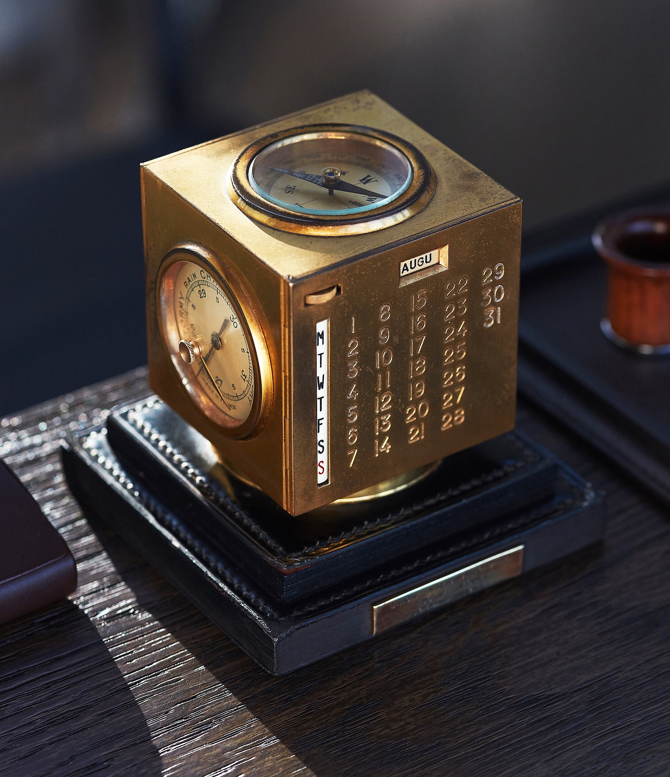 Art Deco Hermes Paris Compendium 8-day brass calendar desk clock for sale online at A Collected Man for collectors of rare objects