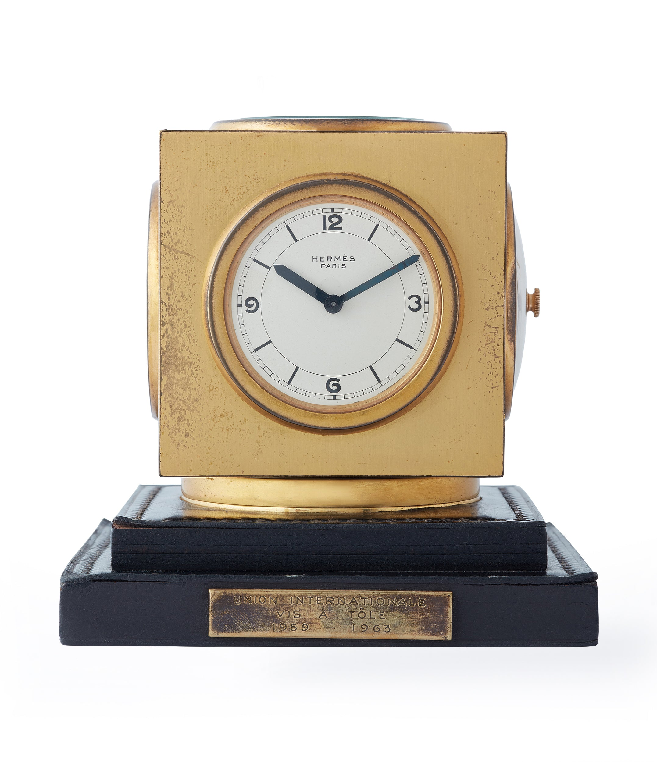 buy vintage Hermes Paris Compendium 8-day Art Deco brass calendar desk clock for sale online at A Collected Man for collectors of rare objects