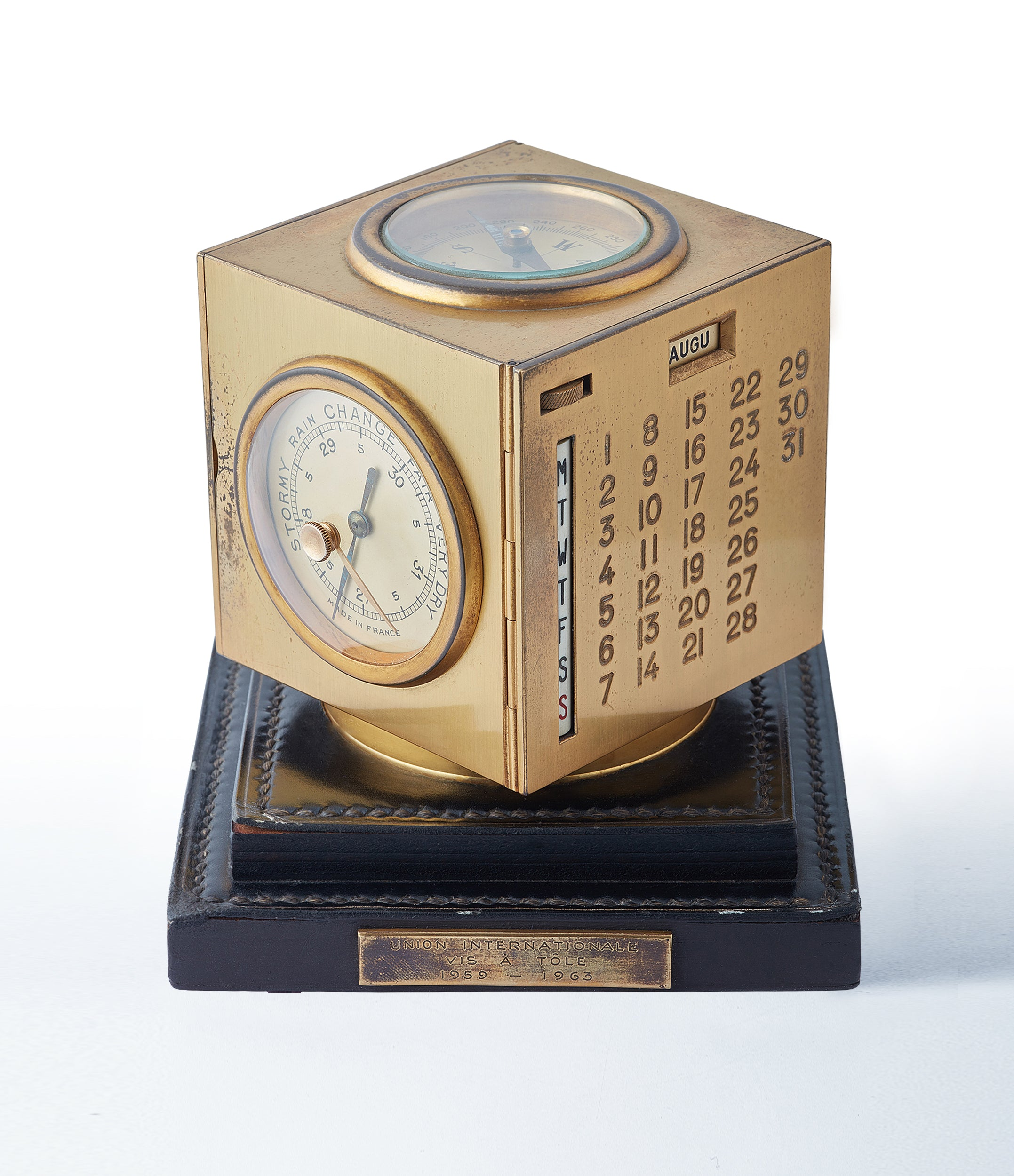 selling vintage Hermes Paris Compendium 8-day Art Deco brass calendar desk clock for sale online at A Collected Man for collectors of rare objects