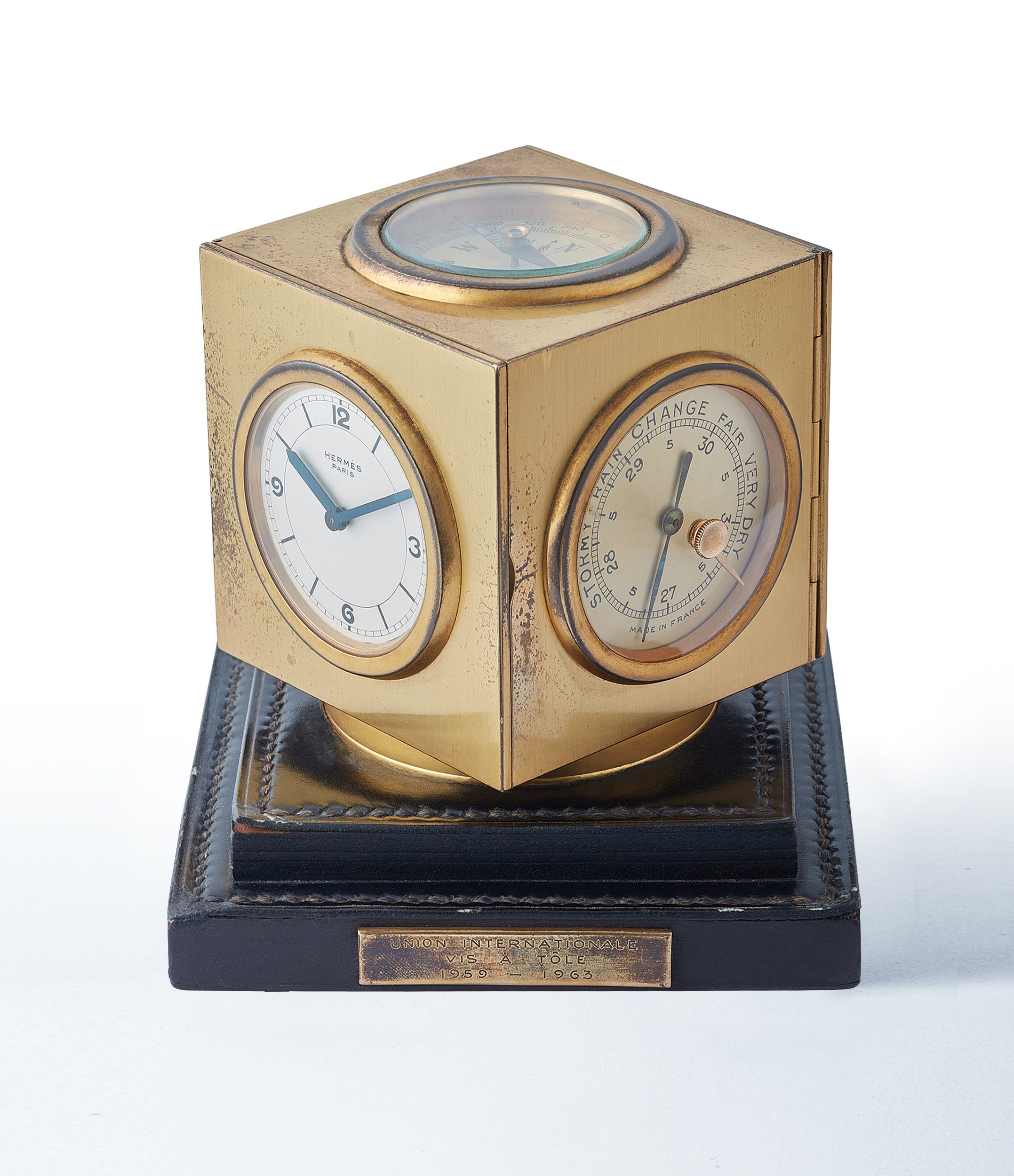rare Hermes Compendium 8-day Art Deco brass calendar desk clock for sale online at A Collected Man for collectors of rare objects