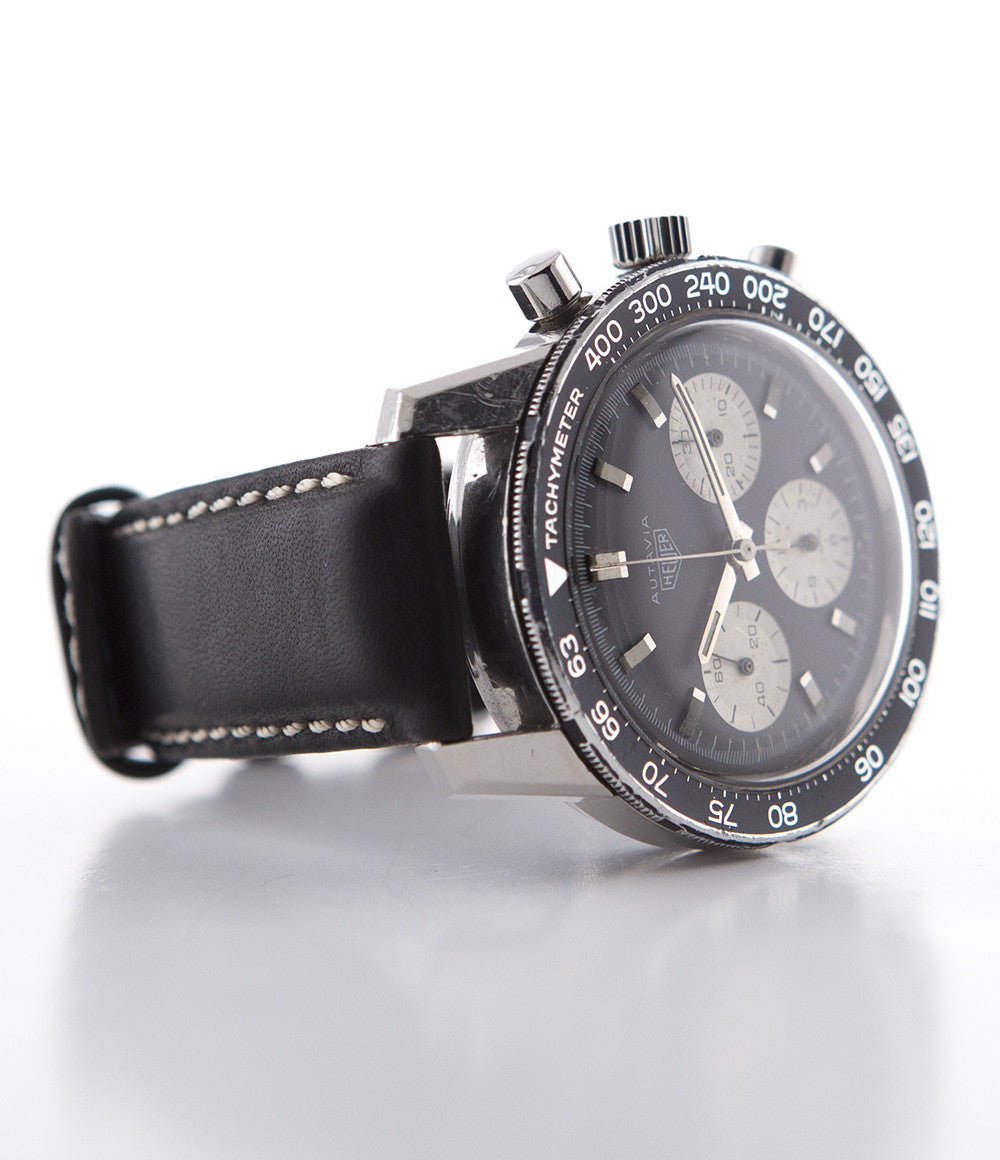 Heuer Autavia 2446C Valjoux 72 steel manual-winding vintage pre-owned watch with black  dial and black strap