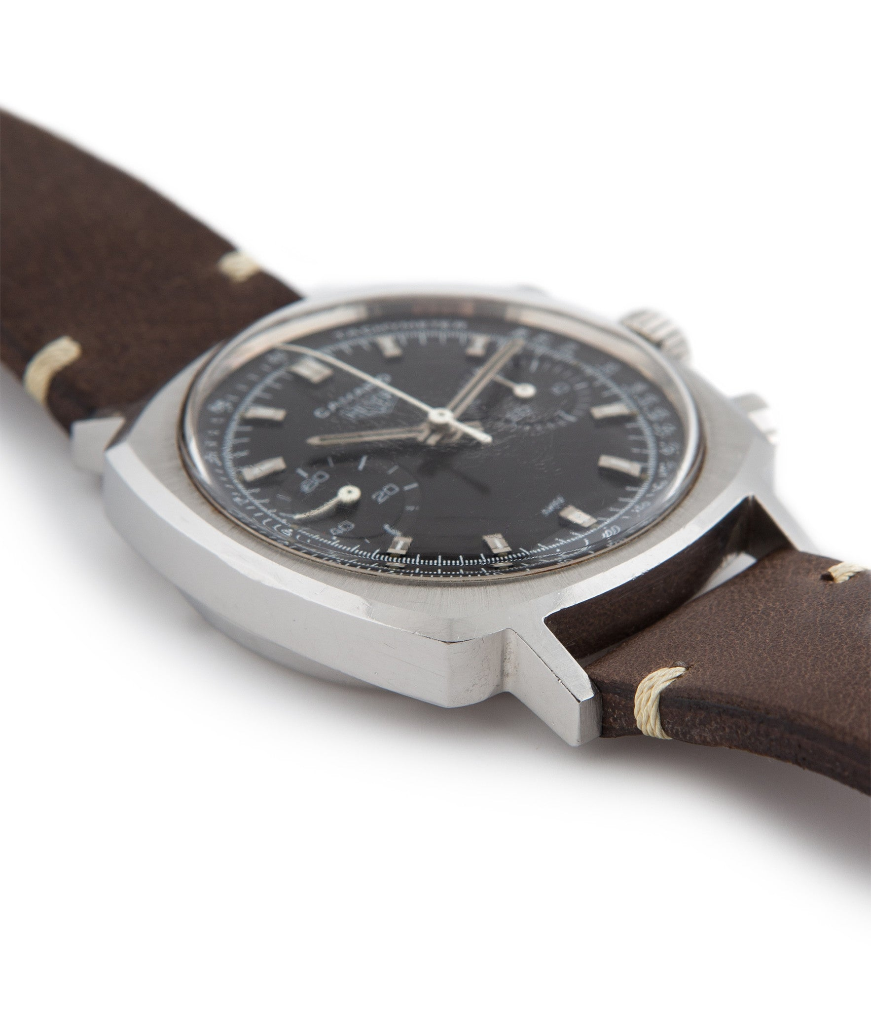 Heuer Camaro 7743 stainless steel manual-winding Cal. Valjoux 7733 vintage authentic pre-owned dress, sport luxury watch from 1969 with black dial and brown  strap with chronograph, hours, minutes, sub-seconds