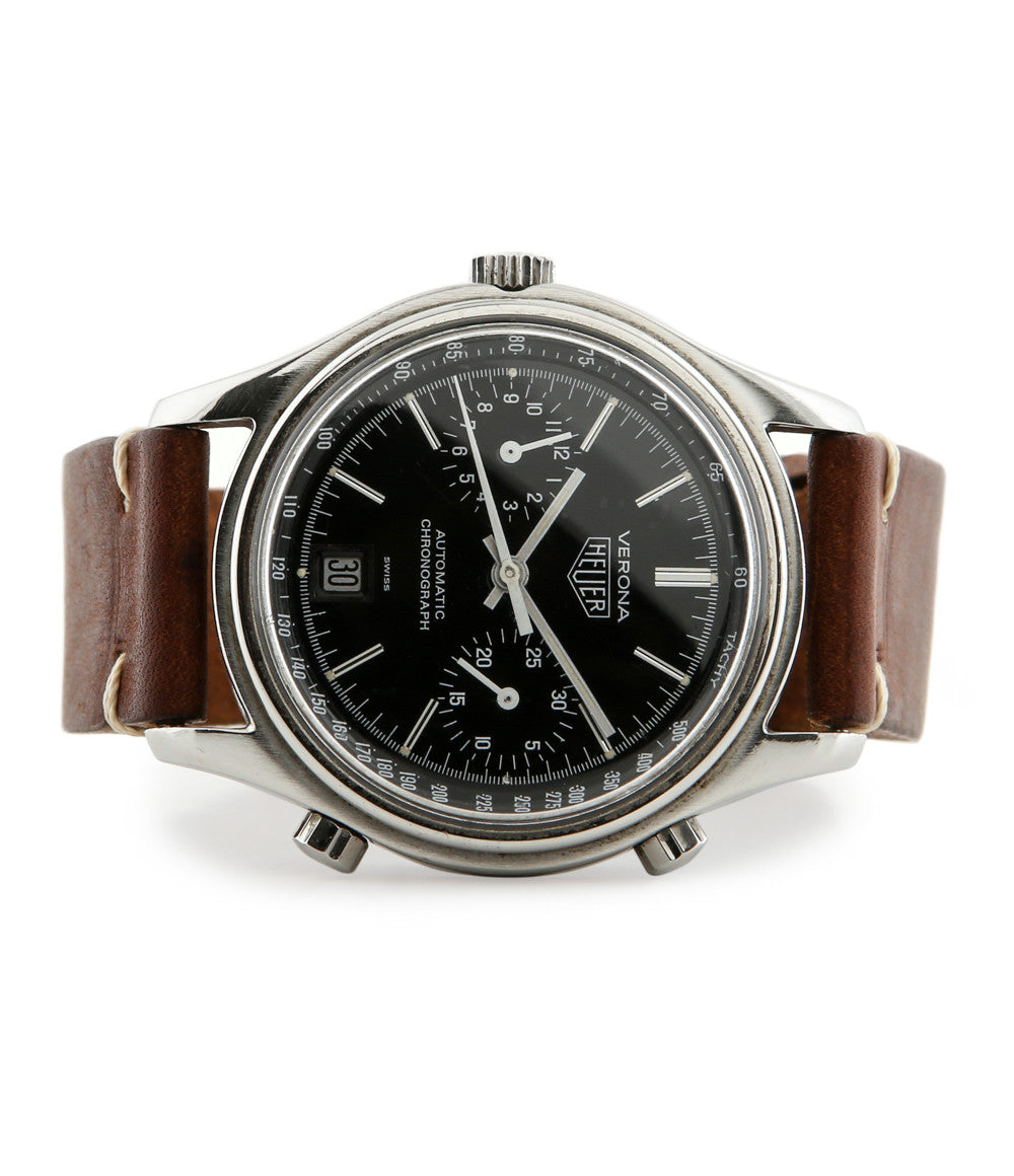 Heuer Verona Automatic Chronograph 110.213N stainless steel automatic Cal. 12 Chronomatic vintage authentic pre-owned sport, dress luxury watch from 1978-9 with black dial and brown leather strap with date, chronograph, tachymeter, hours, minutes