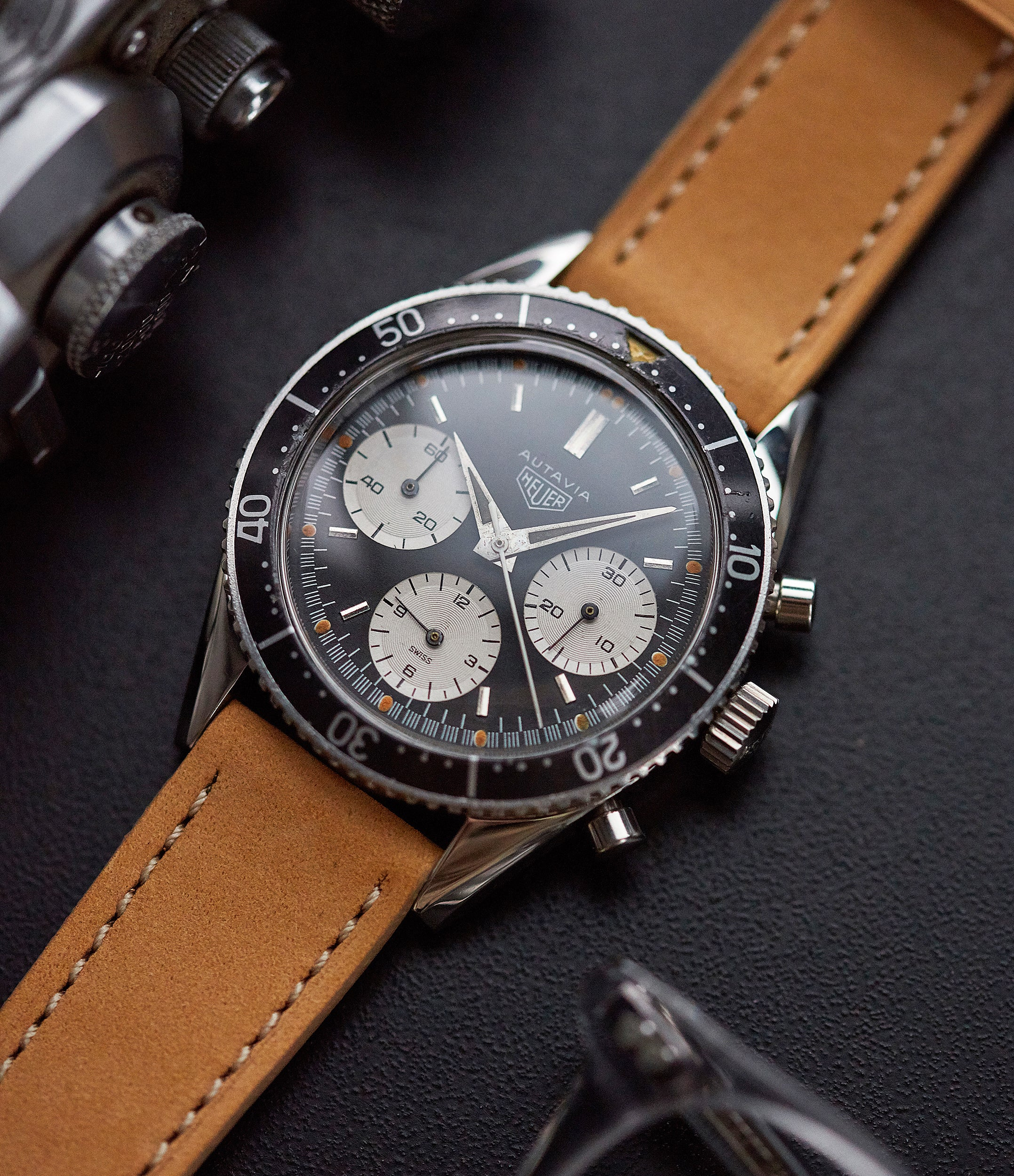 original unrestored Heuer Autavia 2446 Second Execution Valjoux 72 rare first-owner steel racing sport watch for sale online at A Collected Man London UK rare watch specilaist