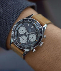 on the wrist Heuer Autavia 2446 Second Execution Valjoux 72 rare first-owner steel racing sport watch for sale online at A Collected Man London UK rare watch specilaist