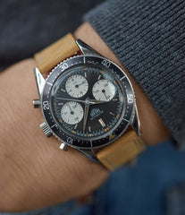 vintage wristwatch Heuer Autavia 2446 Second Execution Valjoux 72 rare first-owner chronograph steel racing sport watch for sale online at A Collected Man London UK rare watch specilaist
