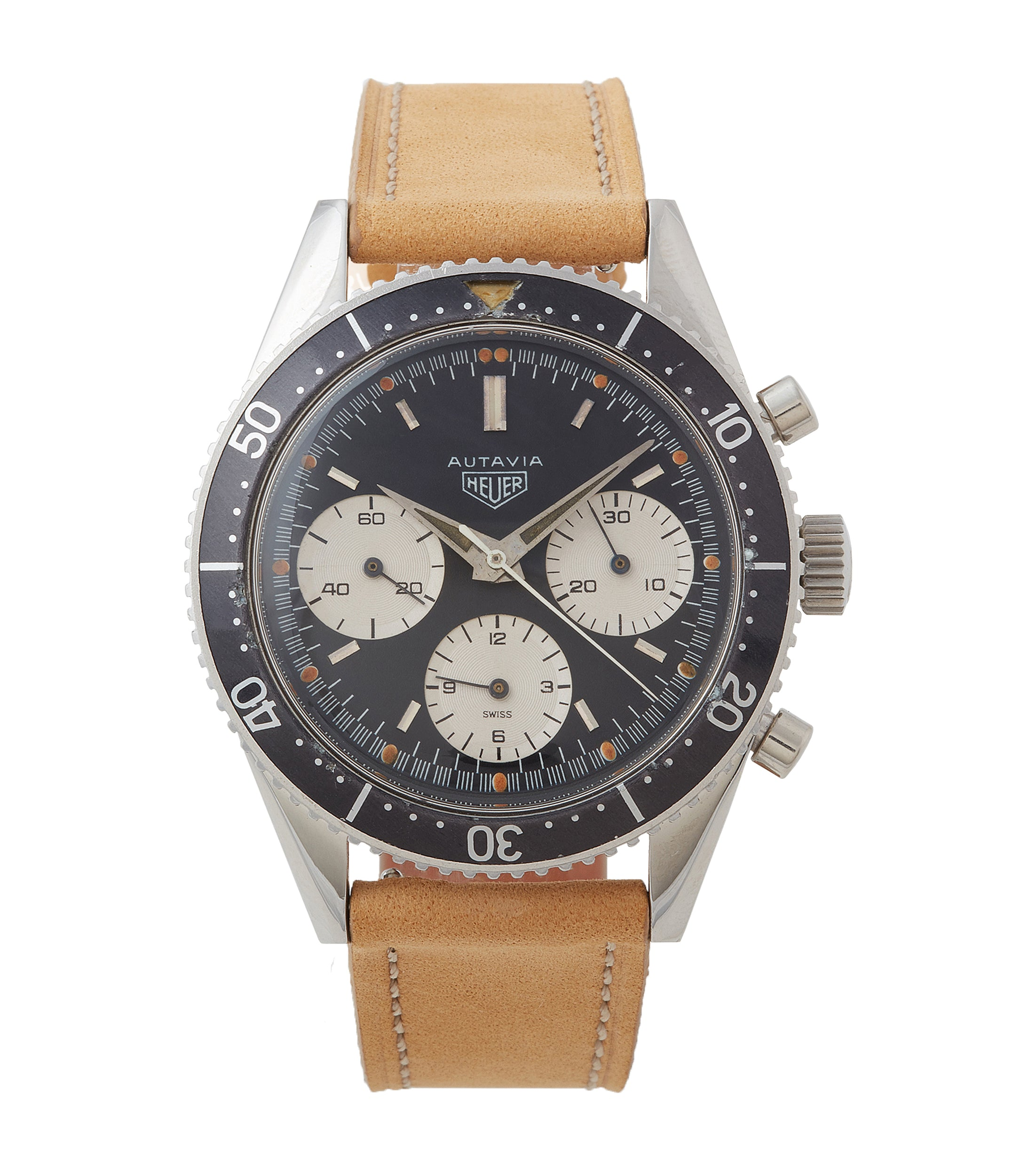 buy vintage Heuer Autavia 2446 Second Execution Valjoux 72 rare first-owner chronograph steel racing sport watch for sale online at A Collected Man London UK rare watch specilaist