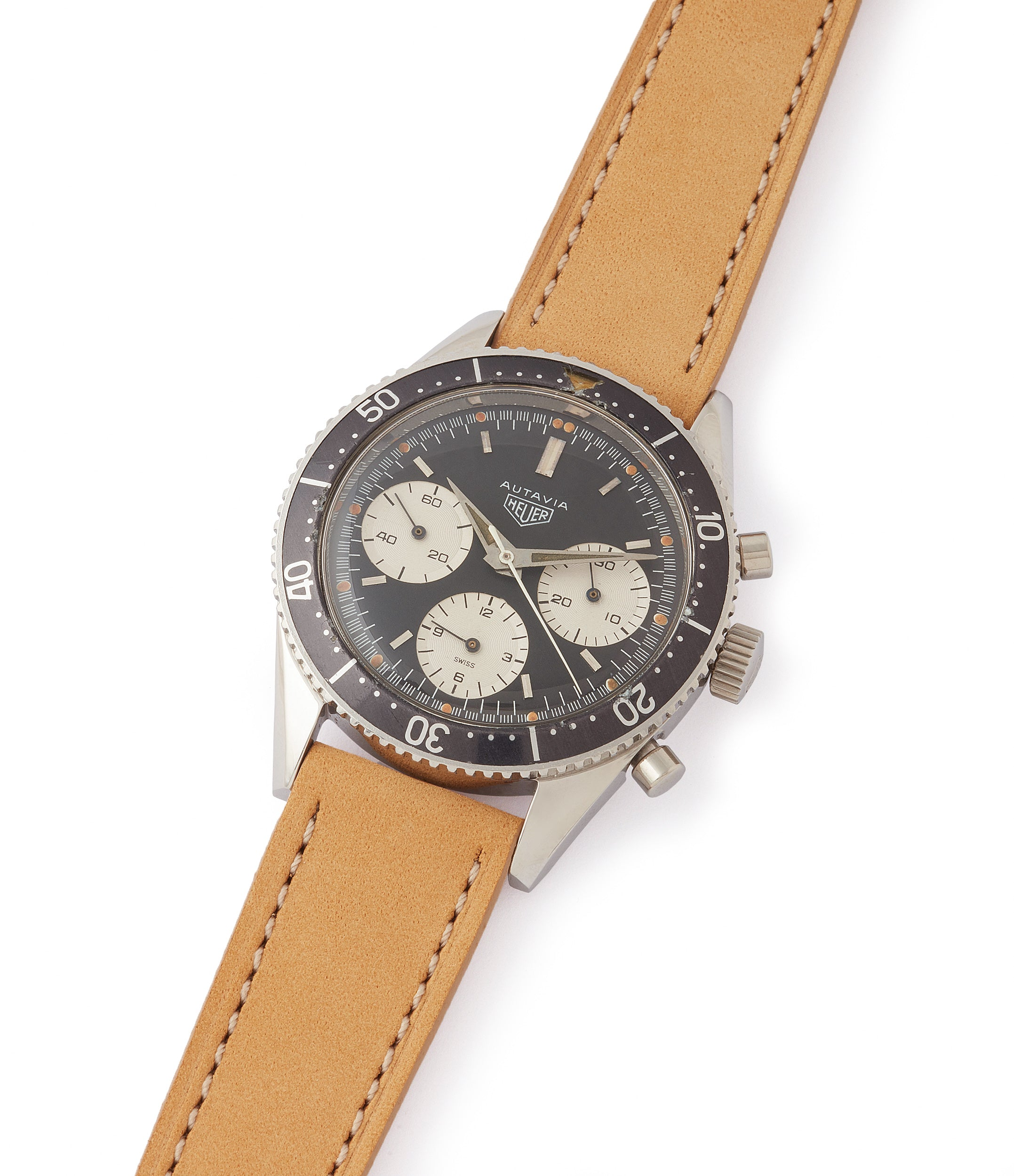 shop vintage Heuer Autavia 2446 Second Execution Valjoux 72 rare first-owner chronograph steel racing sport watch for sale online at A Collected Man London UK rare watch specilaist