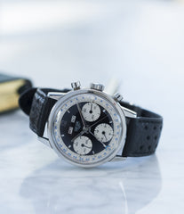 buying vintage Heuer Carrera 2546NS Dato 12 panda dial triple calendar chronograph most complicated Heuer watch for sale online at A Collected Man London UK specialist of rare watches