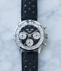 selling vintage Heuer Carrera 2546NS Dato 12 panda dial triple calendar chronograph most complicated Heuer watch for sale online at A Collected Man London UK specialist of rare watches