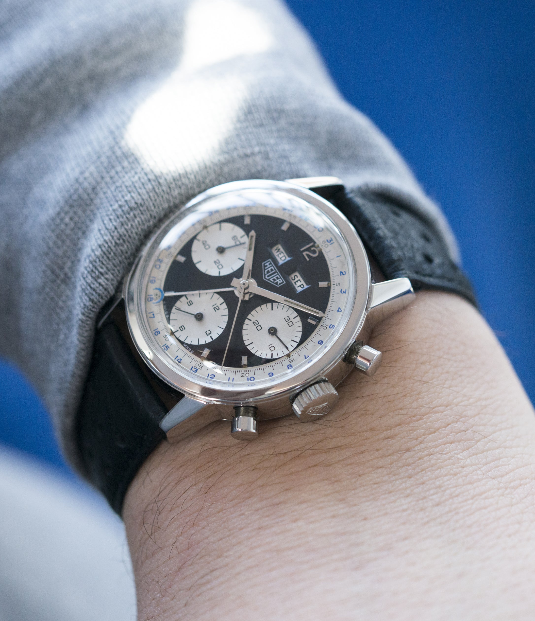 on the wrist vintage Heuer Carrera 2546NS Dato 12 panda dial triple calendar chronograph most complicated Heuer watch for sale online at A Collected Man London UK specialist of rare watches