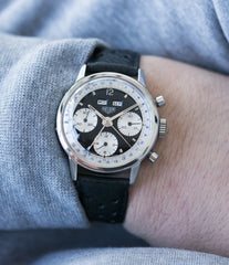 most complicated Heuer panda dial triple calendar chronograph vintage Heuer Carrera 2546NS Dato 12 watch for sale online at A Collected Man London UK specialist of rare watches