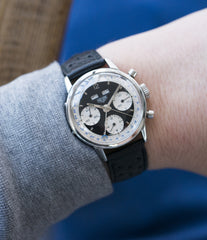 panda dial triple calendar chronograph vintage Heuer Carrera 2546NS Dato 12 most complicated Heuer watch for sale online at A Collected Man London UK specialist of rare watches