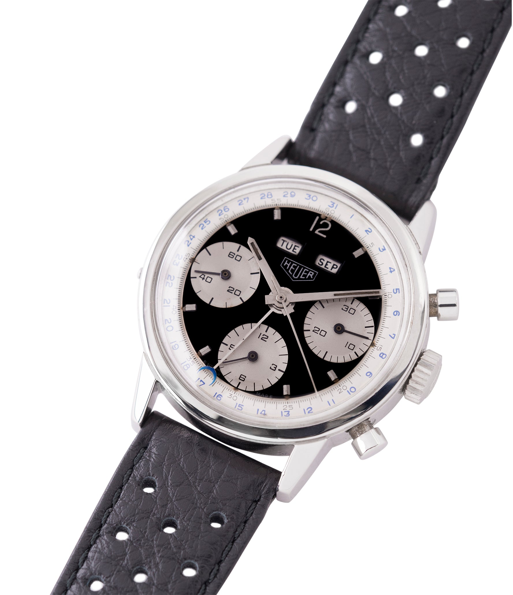 vintage Heuer Carrera 2546NS Dato 12 panda dial triple calendar chronograph most complicated Heuer watch for sale online at A Collected Man London UK specialist of rare watches