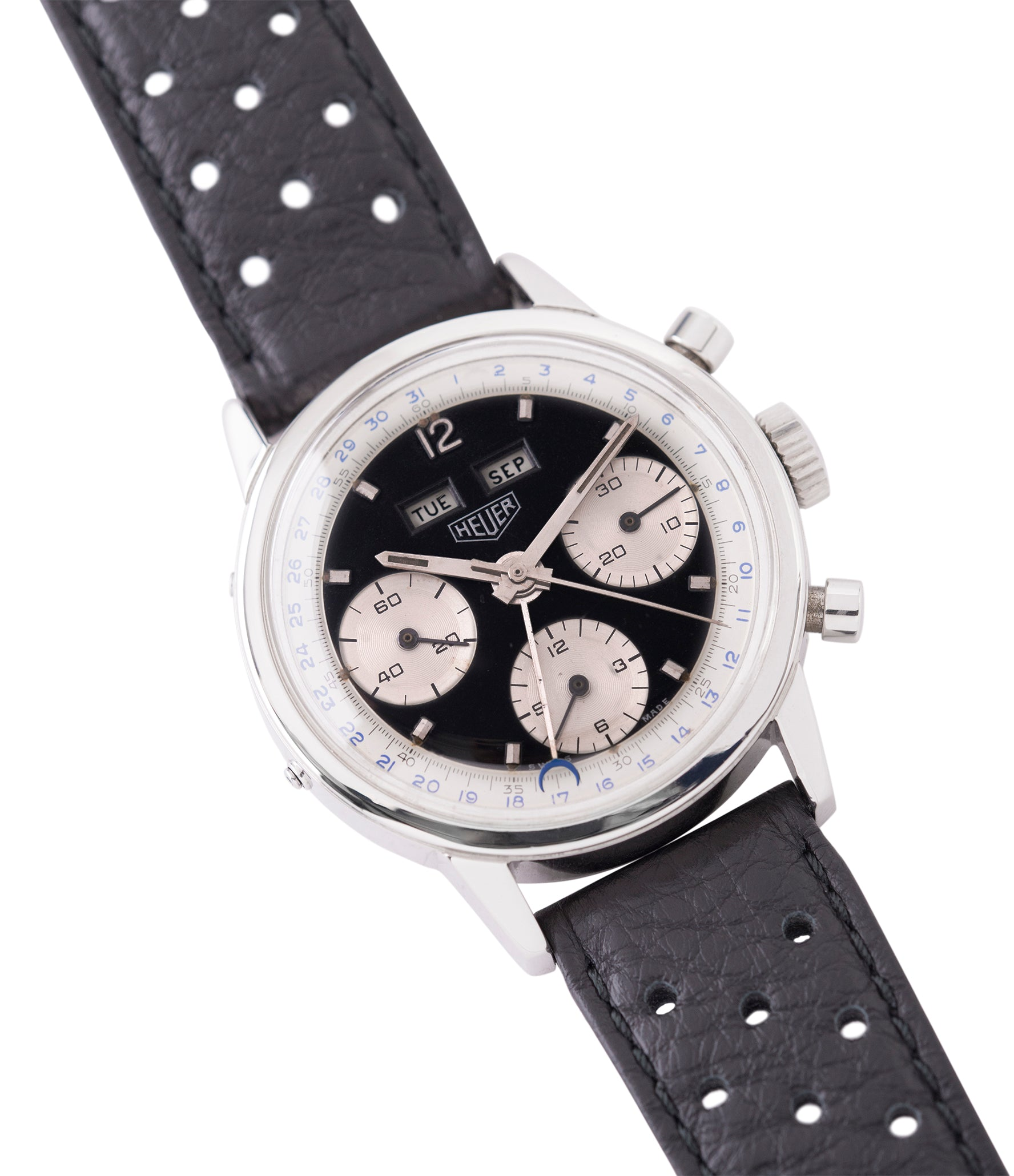 sell vintage Heuer Carrera 2546NS Dato 12 panda dial triple calendar chronograph most complicated Heuer watch for sale online at A Collected Man London UK specialist of rare watches
