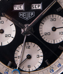 Heuer panda dial most complicated triple calendar chronograph vintage Heuer Carrera 2546NS Dato 12 watch for sale online at A Collected Man London UK specialist of rare watches