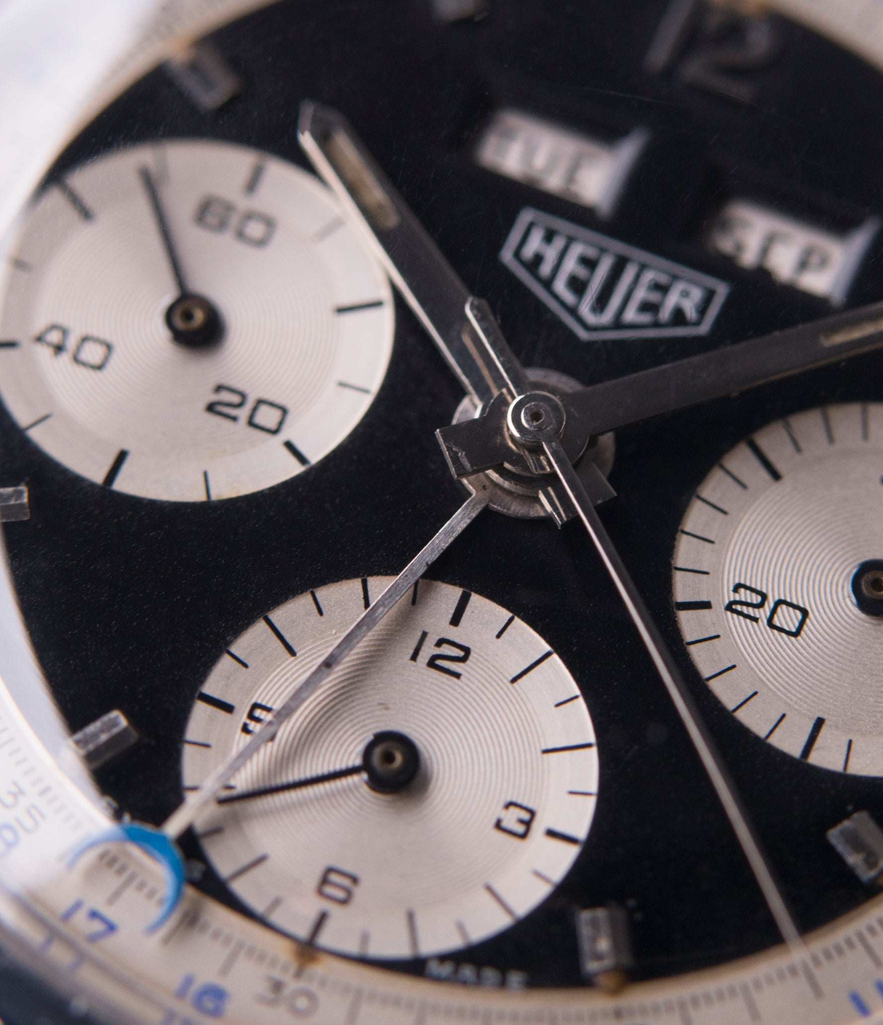 Heuer 2546NS Dato 12  panda dial most complicated triple calendar chronograph vintage Heuer Carrera watch for sale online at A Collected Man London UK specialist of rare watches