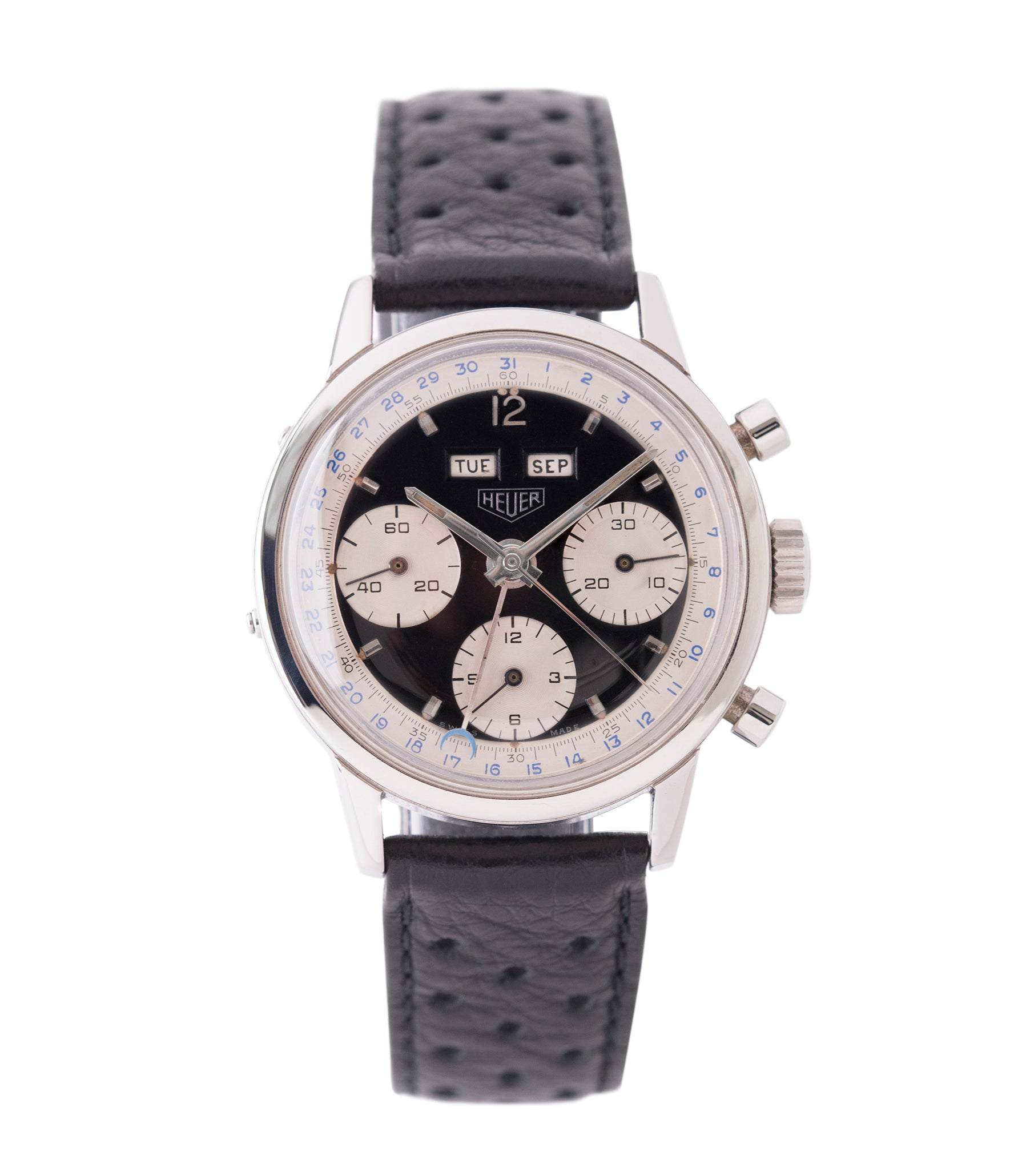 buy vintage Heuer Carrera 2546NS Dato 12 panda dial triple calendar chronograph most complicated Heuer watch for sale online at A Collected Man London UK specialist of rare watches