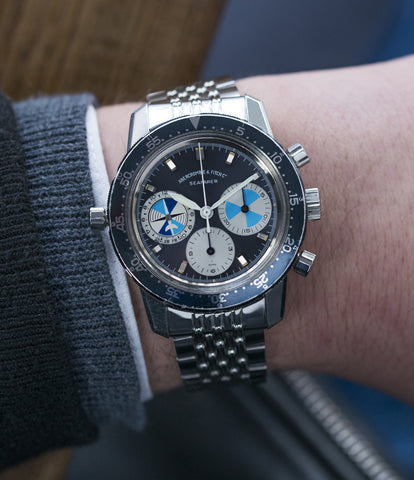 on the wrist vintage Heuer Abercrombie & Fitch Seafarer 2446C SF rare chronograph watch for sale online at A Collected Man London UK specialist of rare vintage watches