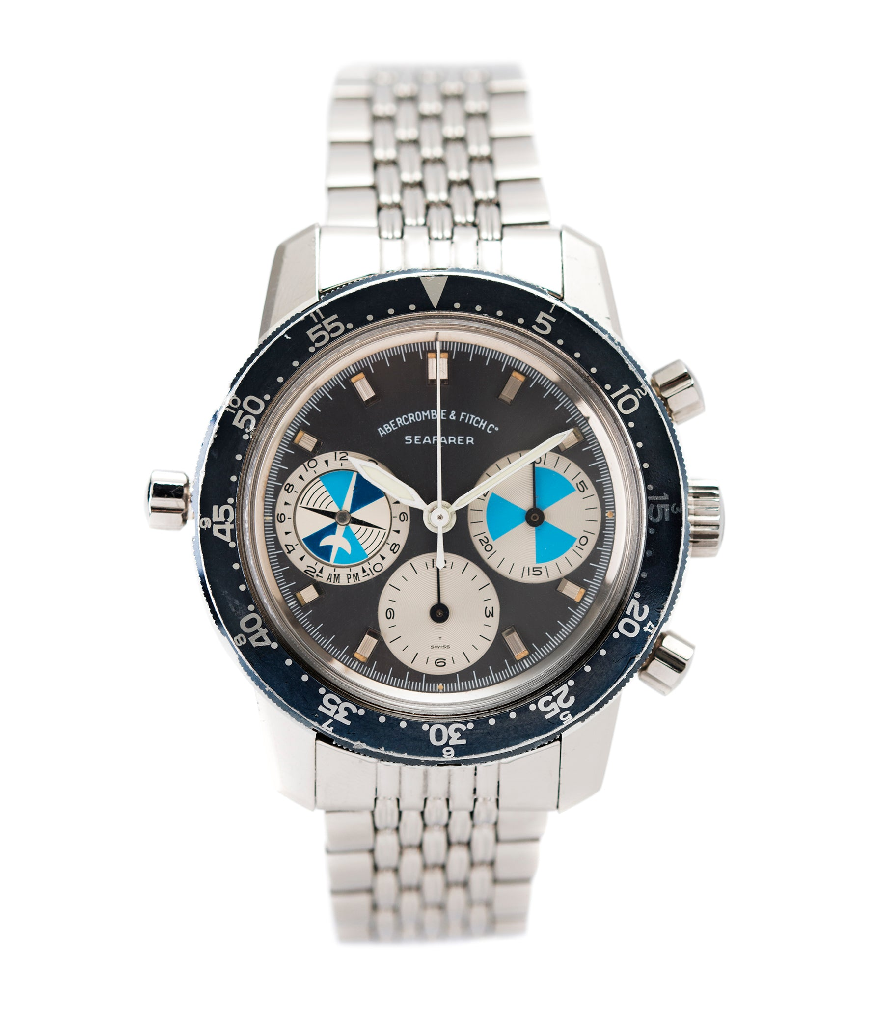 buy vintage Heuer Abercrombie & Fitch Seafarer 2446C SF rare chronograph watch for sale online at A Collected Man London UK specialist of rare vintage watches