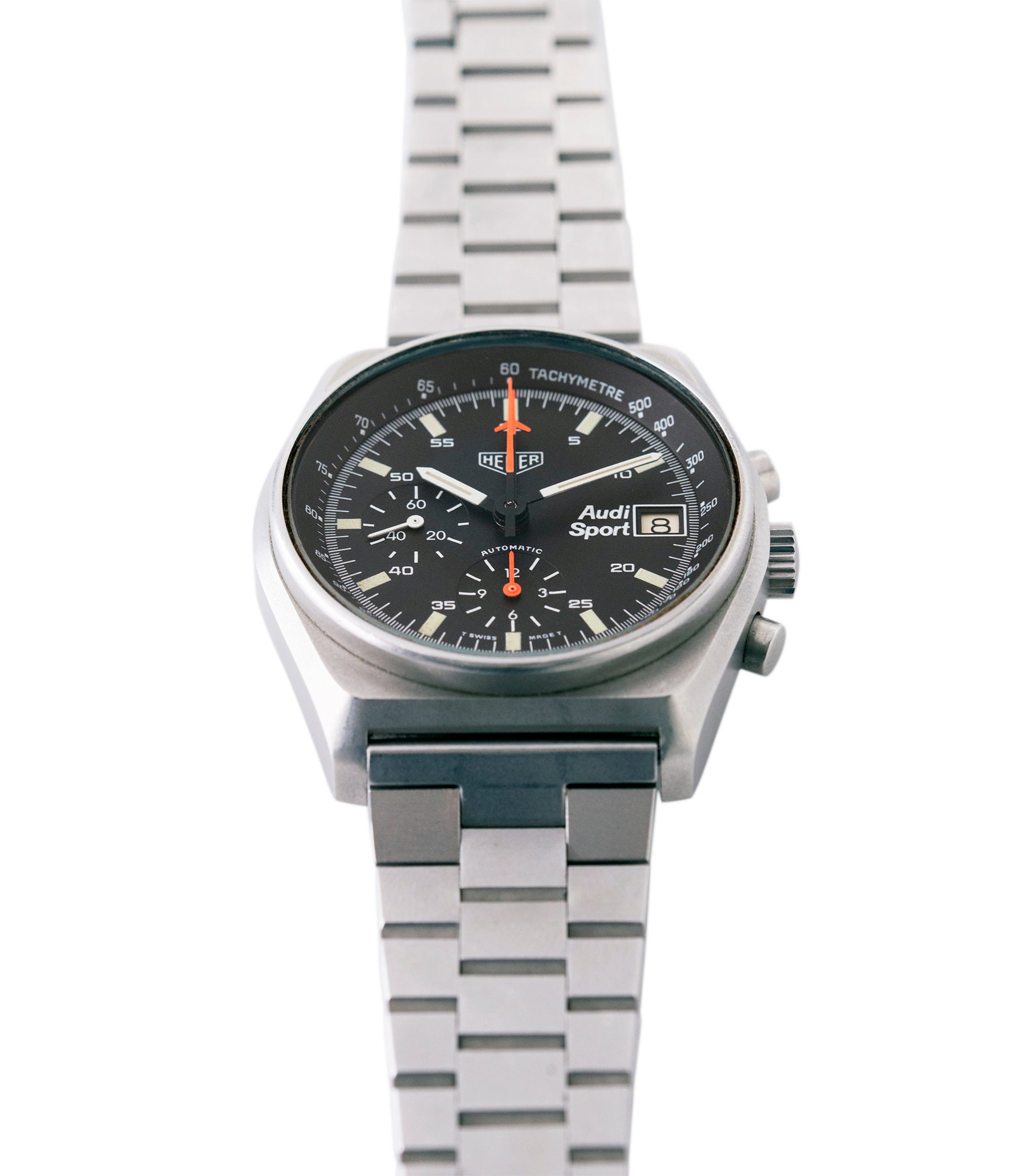 vintage sport chronograph Heuer Sport Audi 510.533 vintage steel chronograph watch for sale online at A Collected Man London UK specialist of rare vintage watches
