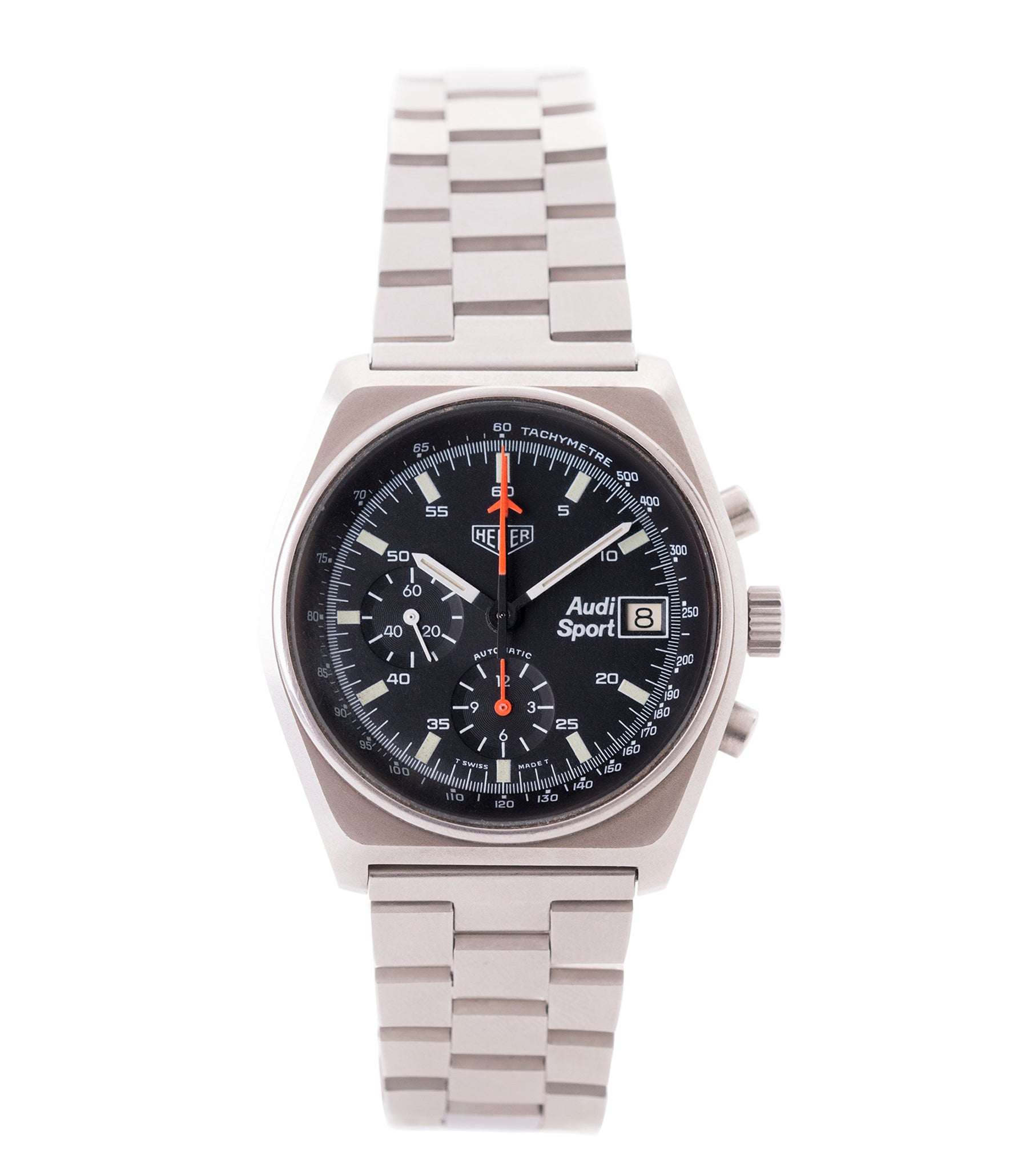 buy Heuer Sport Audi 510.533 vintage steel chronograph watch for sale online at A Collected Man London UK specialist of rare vintage watches