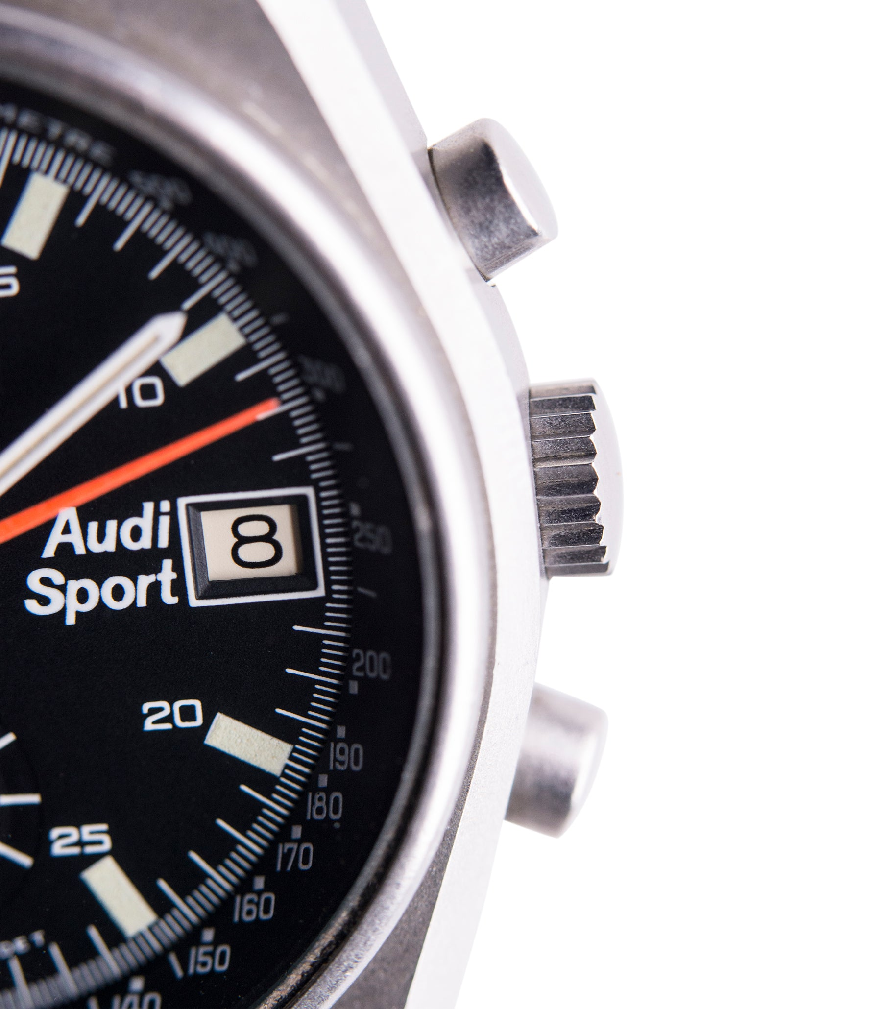 chronograph Heuer Sport Audi 510.533 vintage steel chronograph watch for sale online at A Collected Man London UK specialist of rare vintage watches