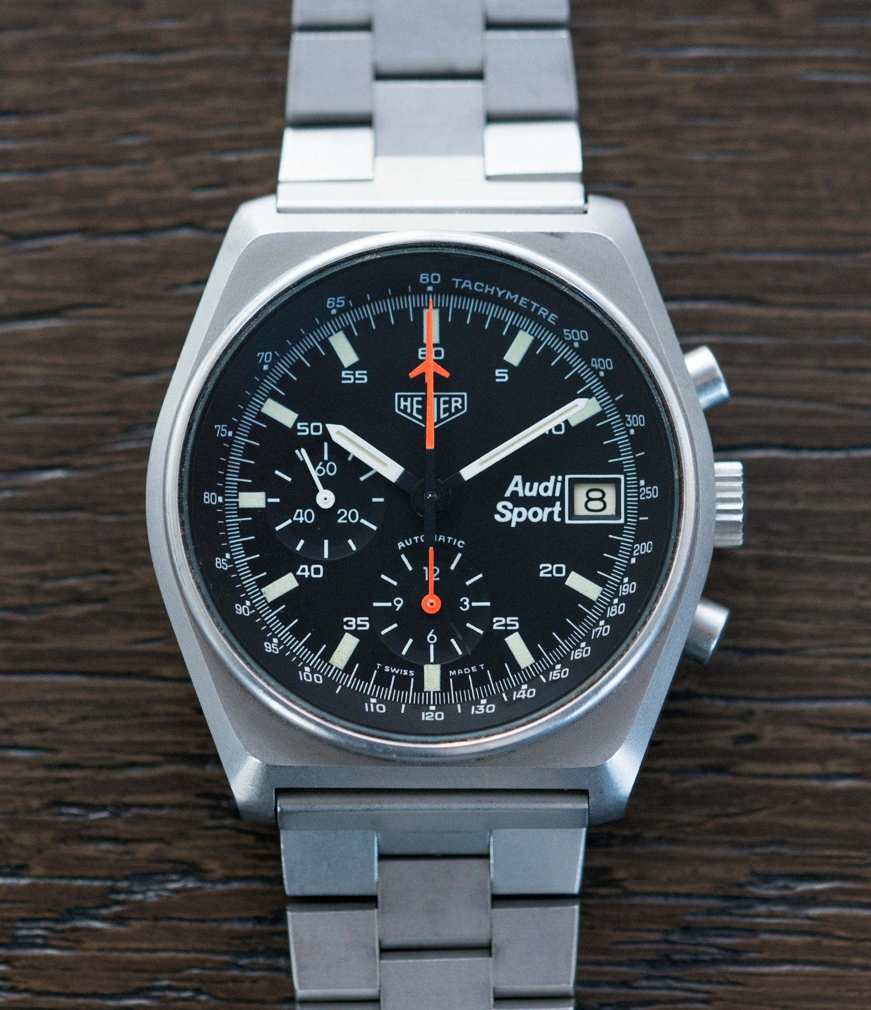 selling Heuer Sport Audi 510.533 vintage steel chronograph watch for sale online at A Collected Man London UK specialist of rare vintage watches