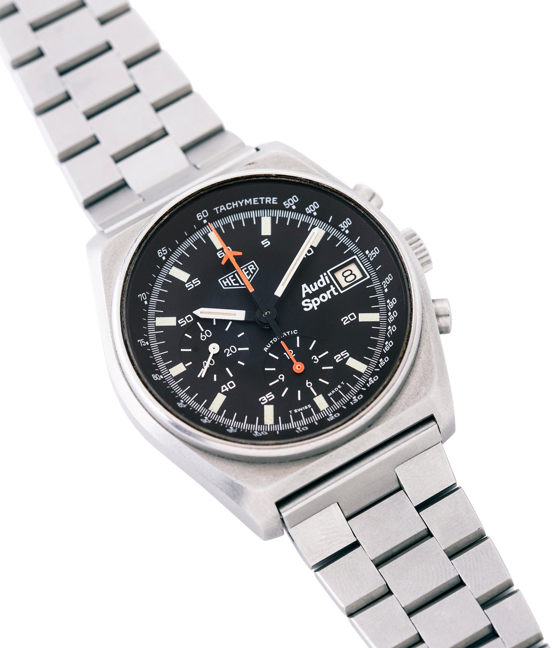 buying Heuer Sport Audi 510.533 vintage steel chronograph watch for sale online at A Collected Man London UK specialist of rare vintage watches