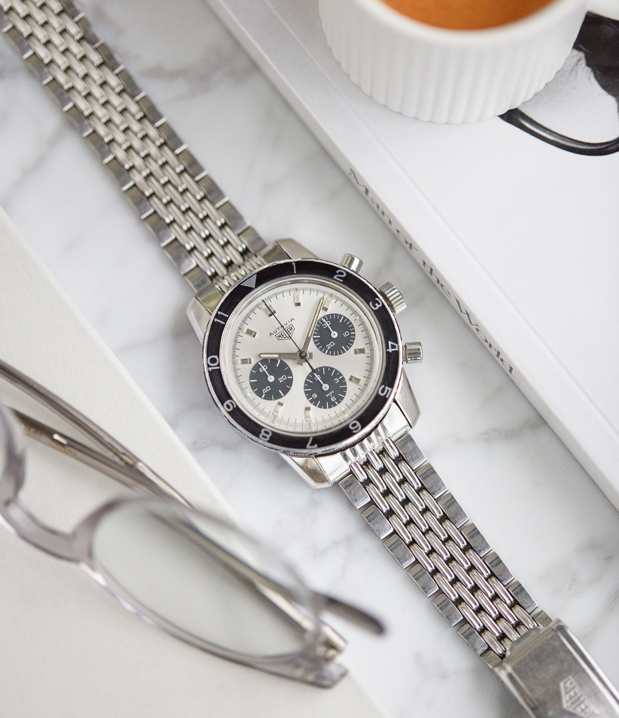 Autavia 2446 C SN Heuer silver dial rare chronograph test dial Valjoux 72 watch